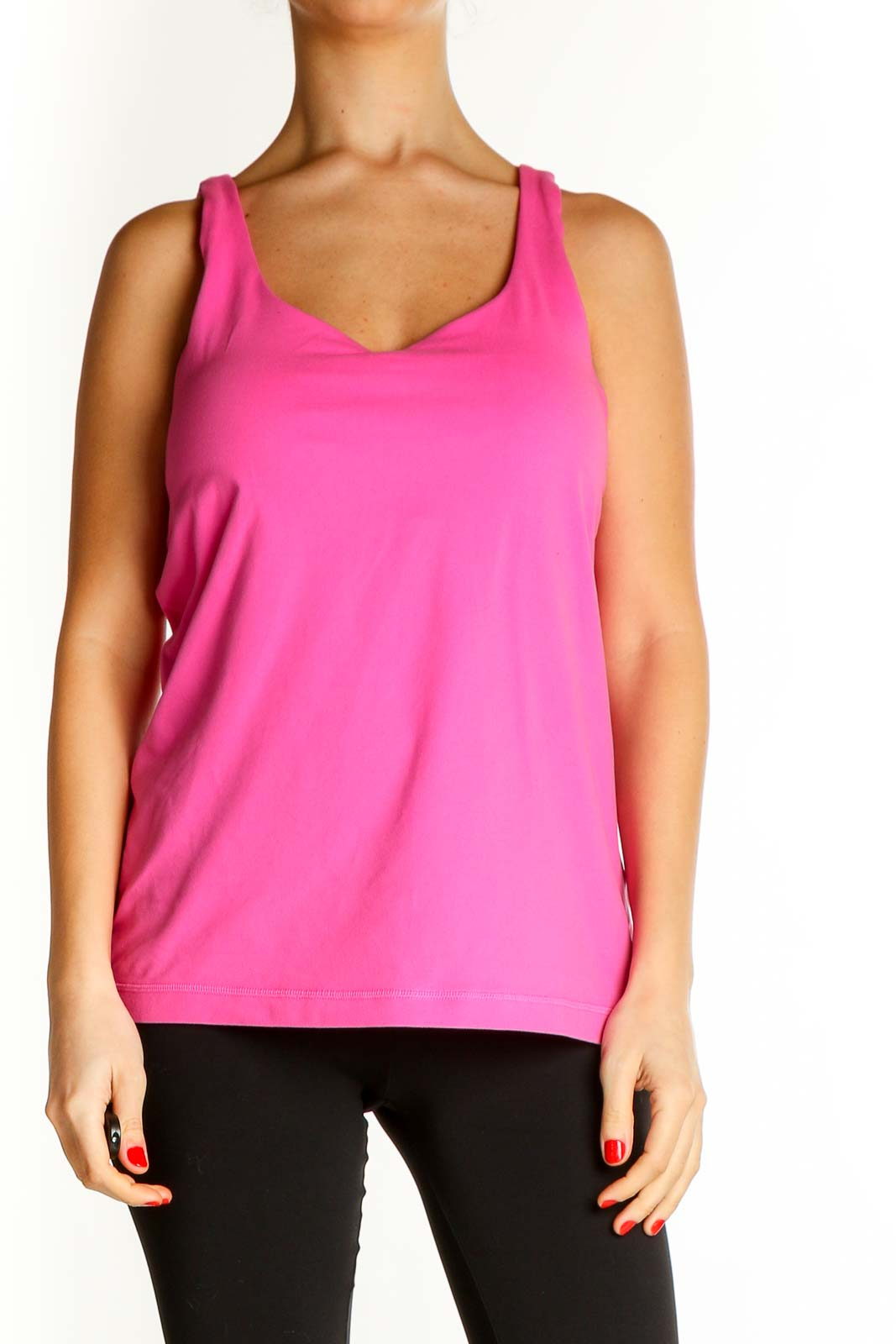 Pink Solid Casual Tank Top Front