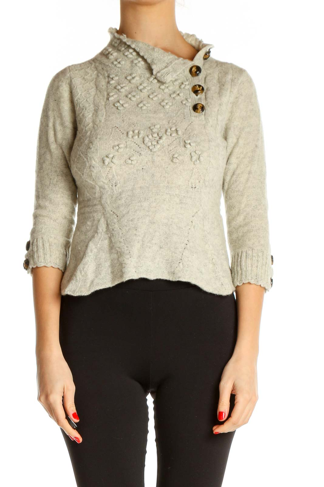 Beige Textured Casual Sweater Front