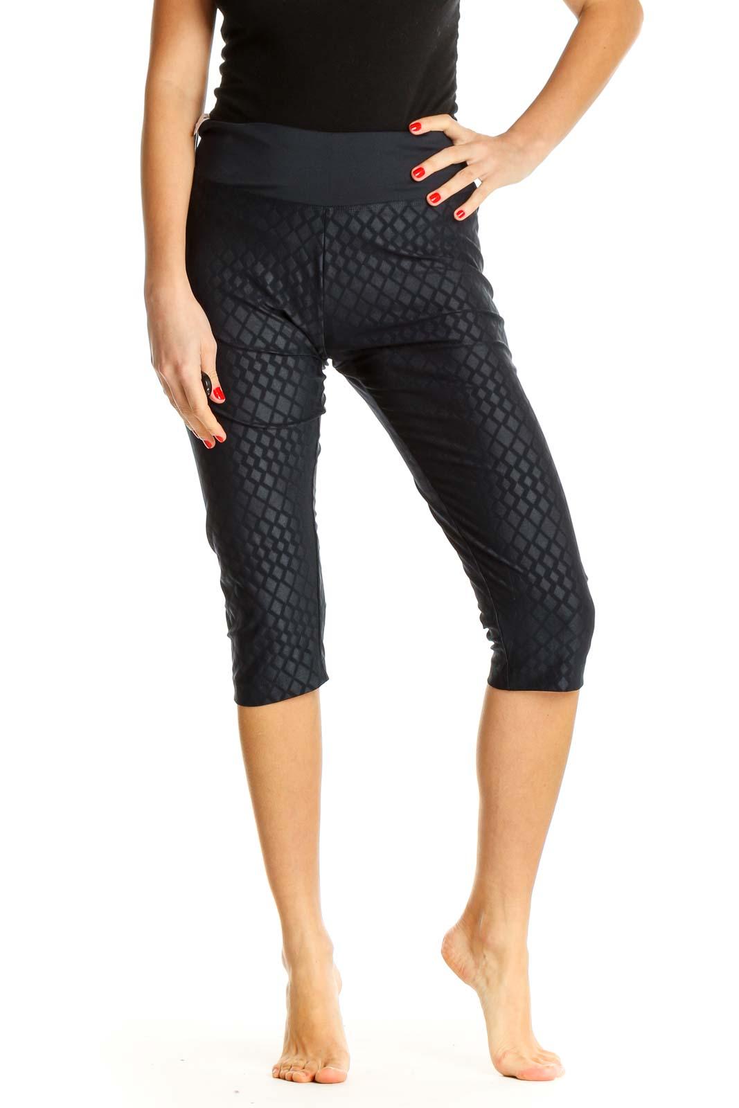 Black Geometric Print Activewear Leggings Front