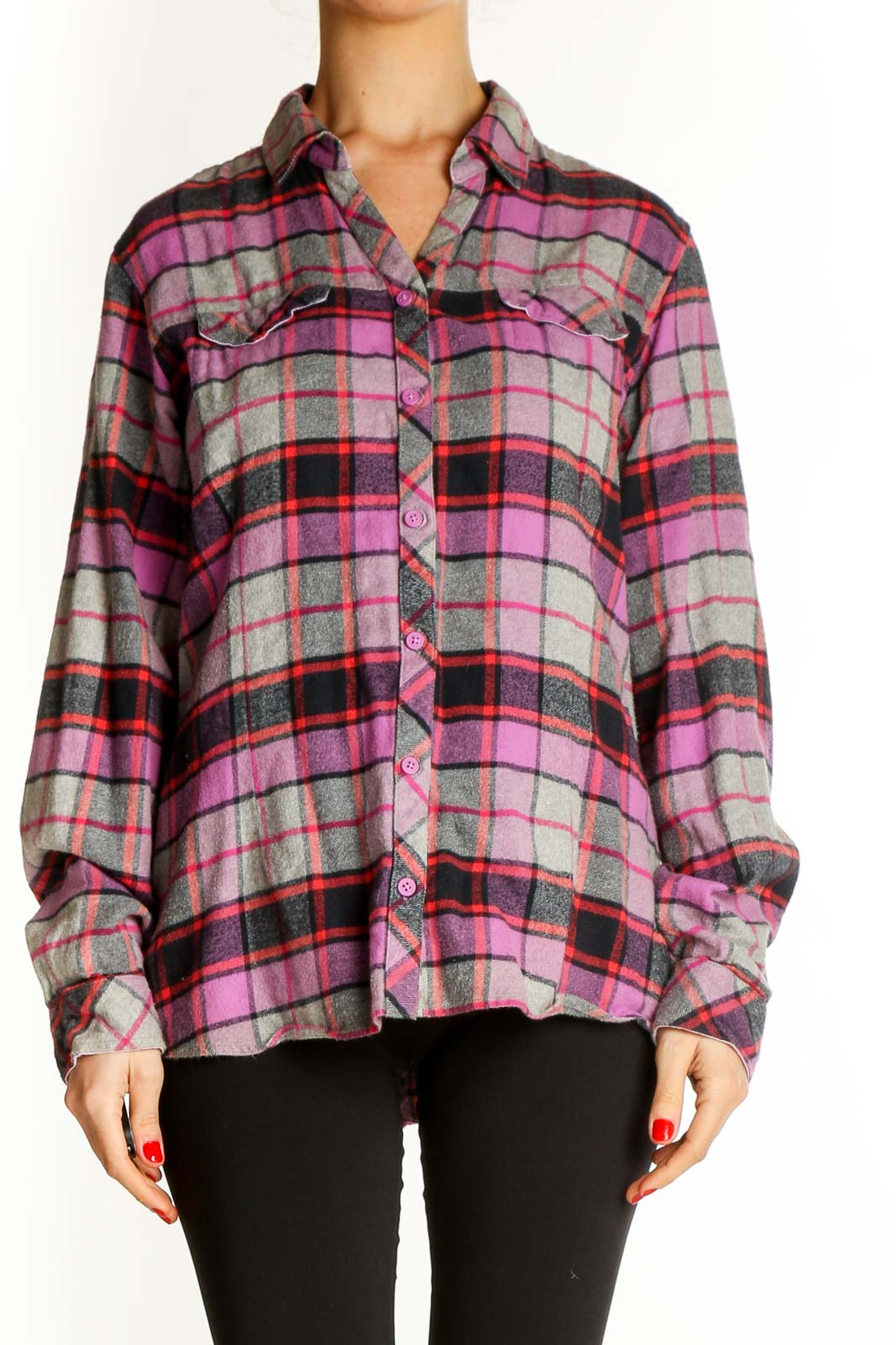 Gray Checkered All Day Wear Shirt Front