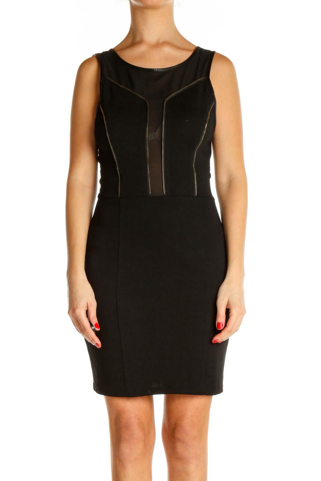 Black Textured Work Sheath Dress Front