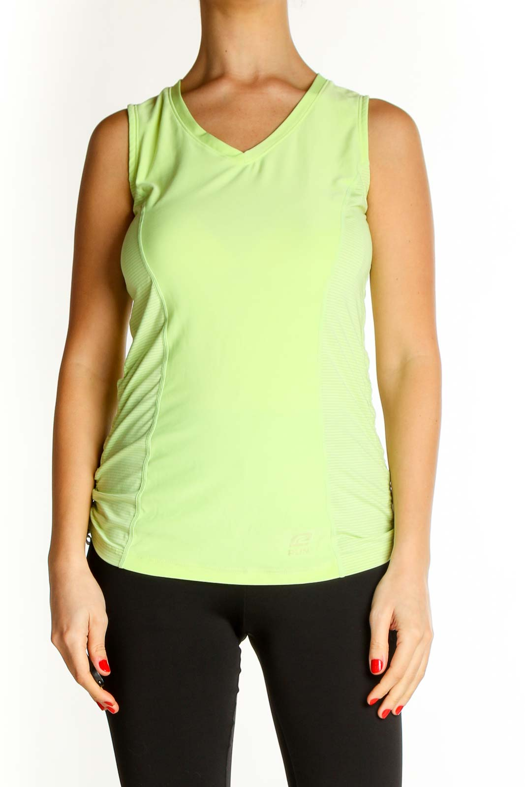 Green Solid Casual Tank Top Front