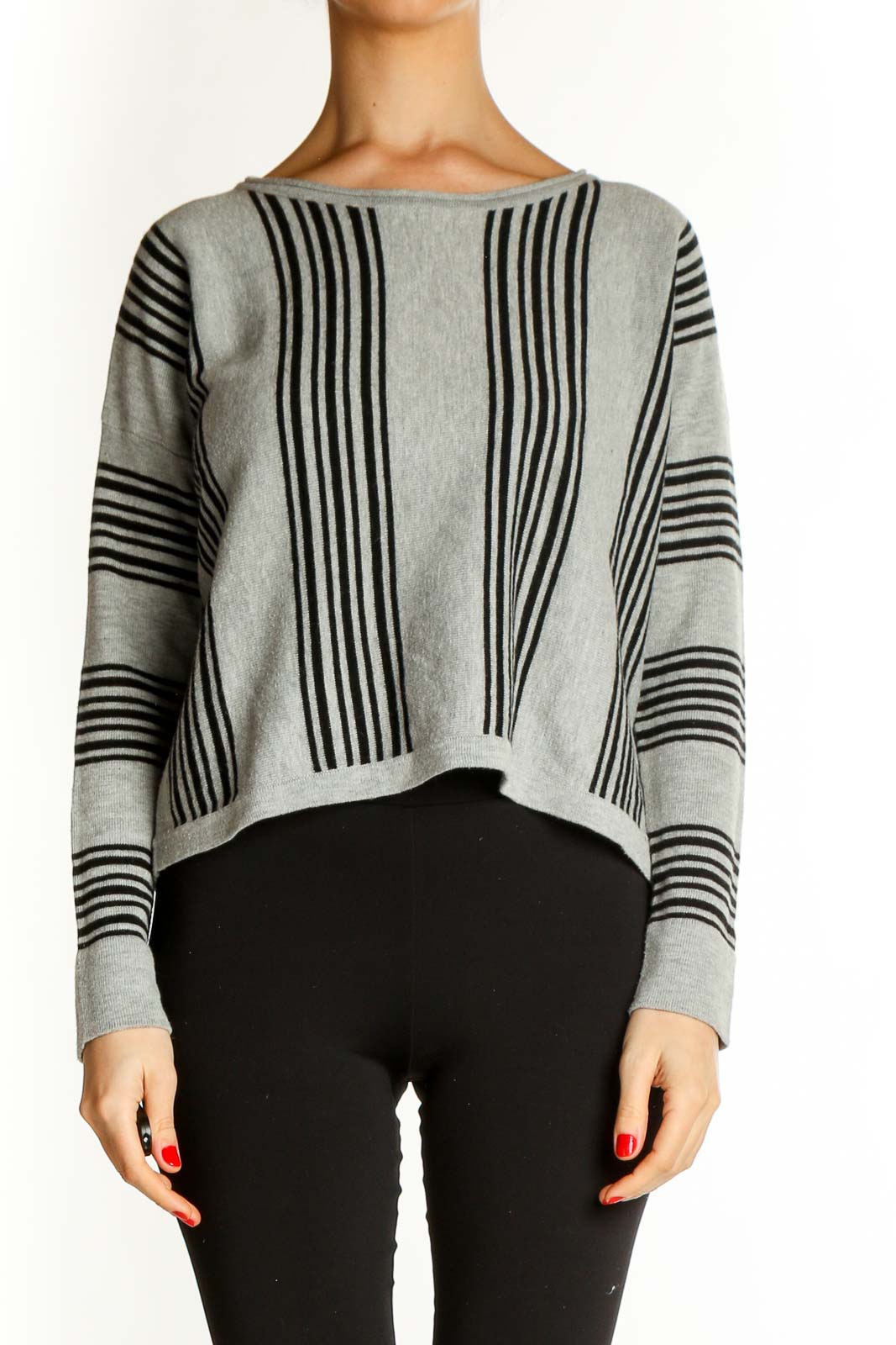 Gray Striped All Day Wear Sweater Front
