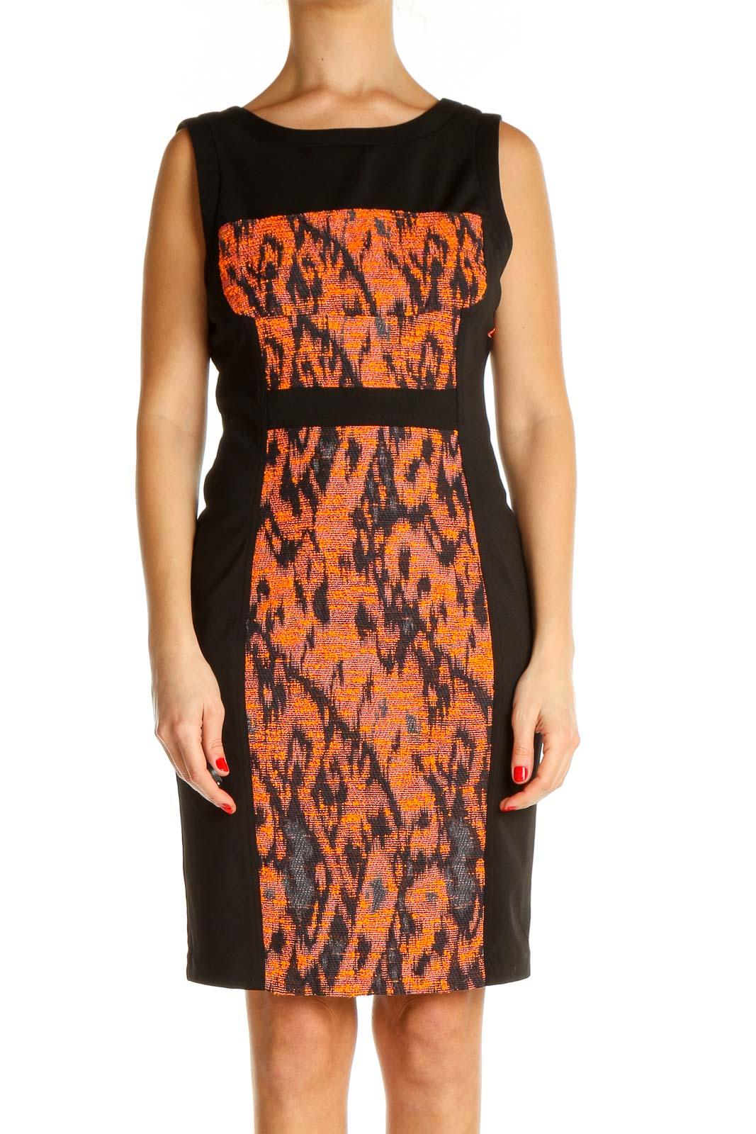 Orange Printed Retro Sheath Dress Front