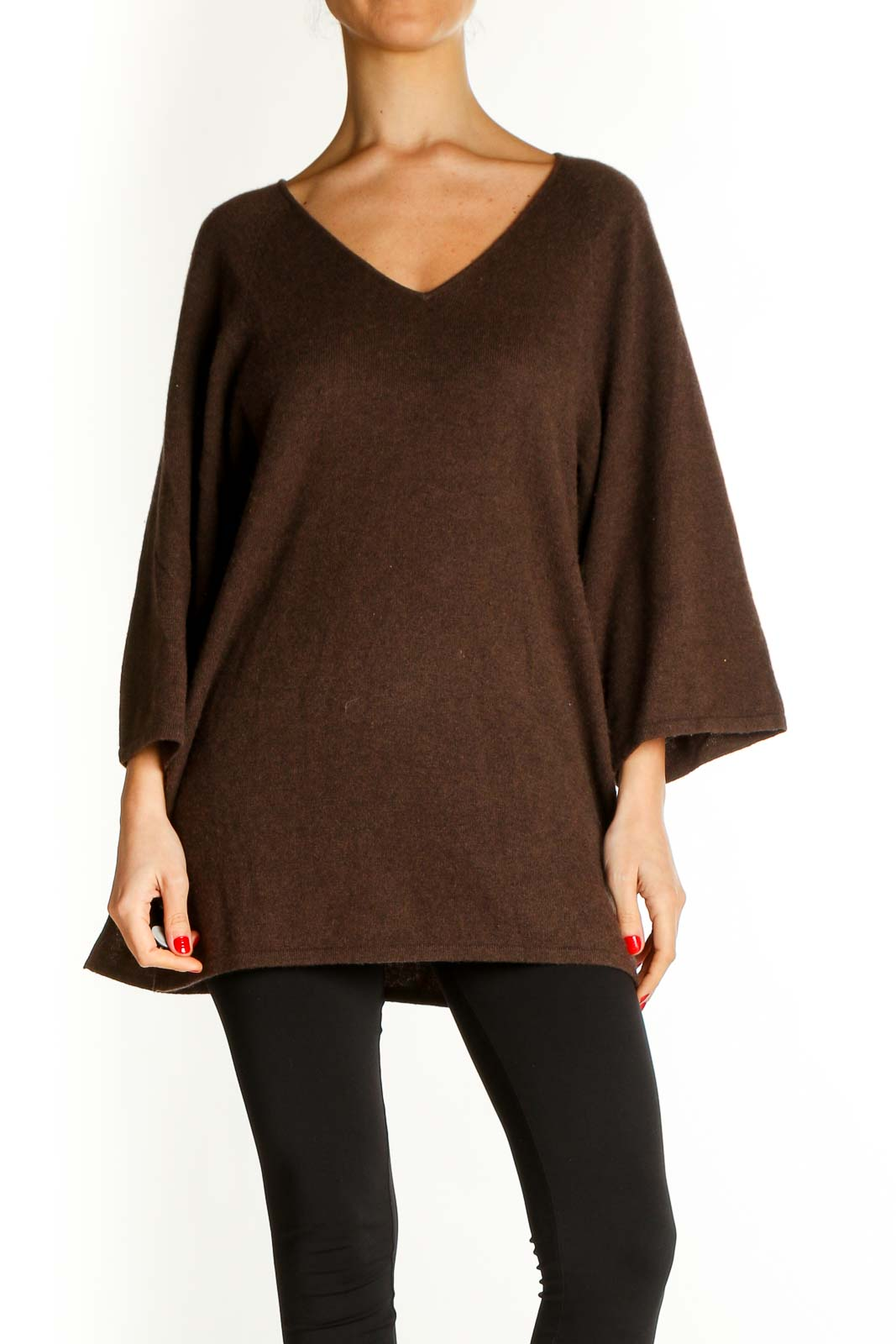 Brown Solid All Day Wear Sweater Front