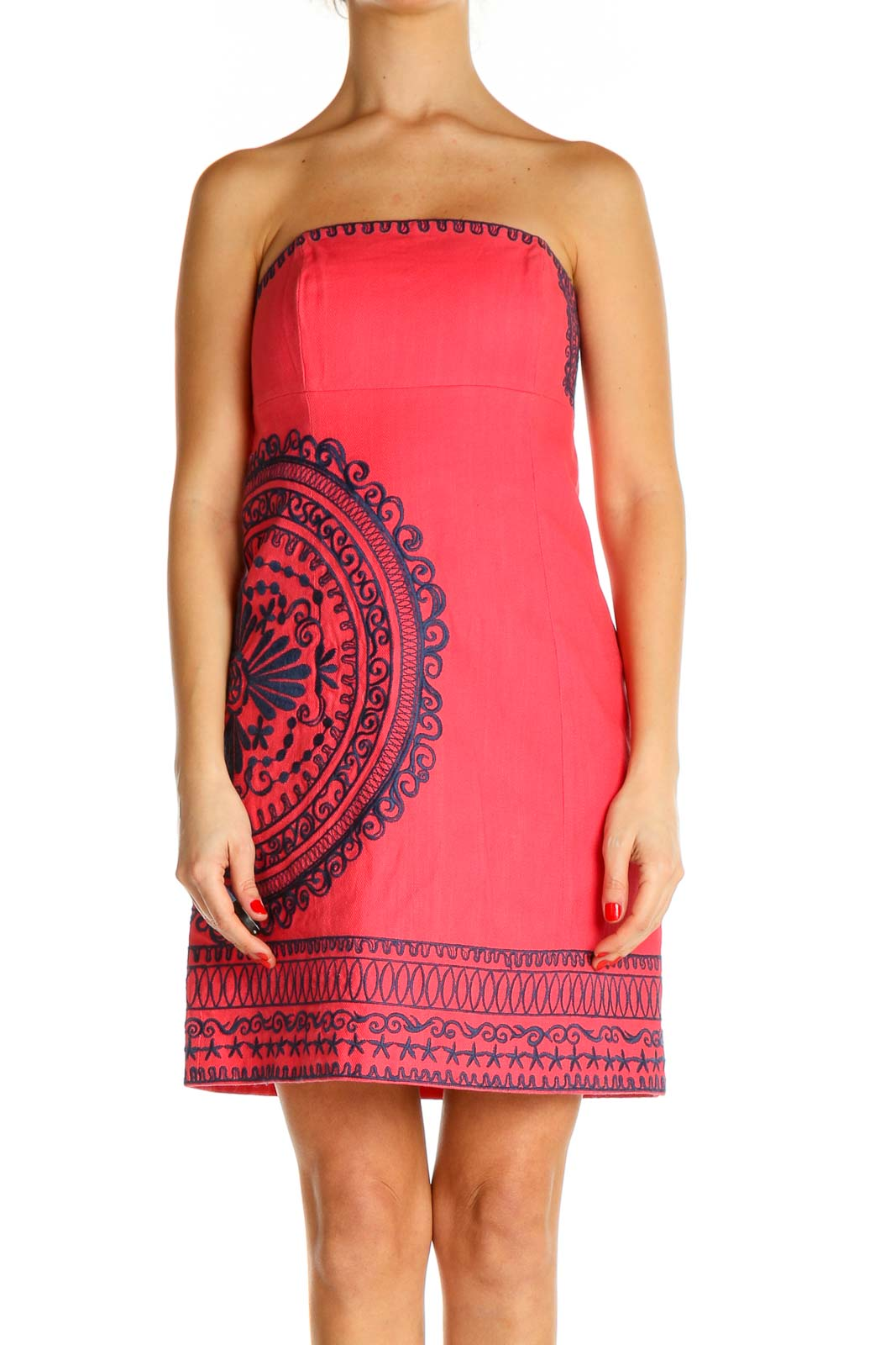 Pink Printed Holiday Sheath Dress Front