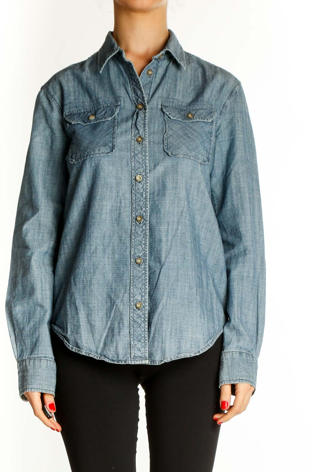 Blue Solid All Day Wear Shirt Front