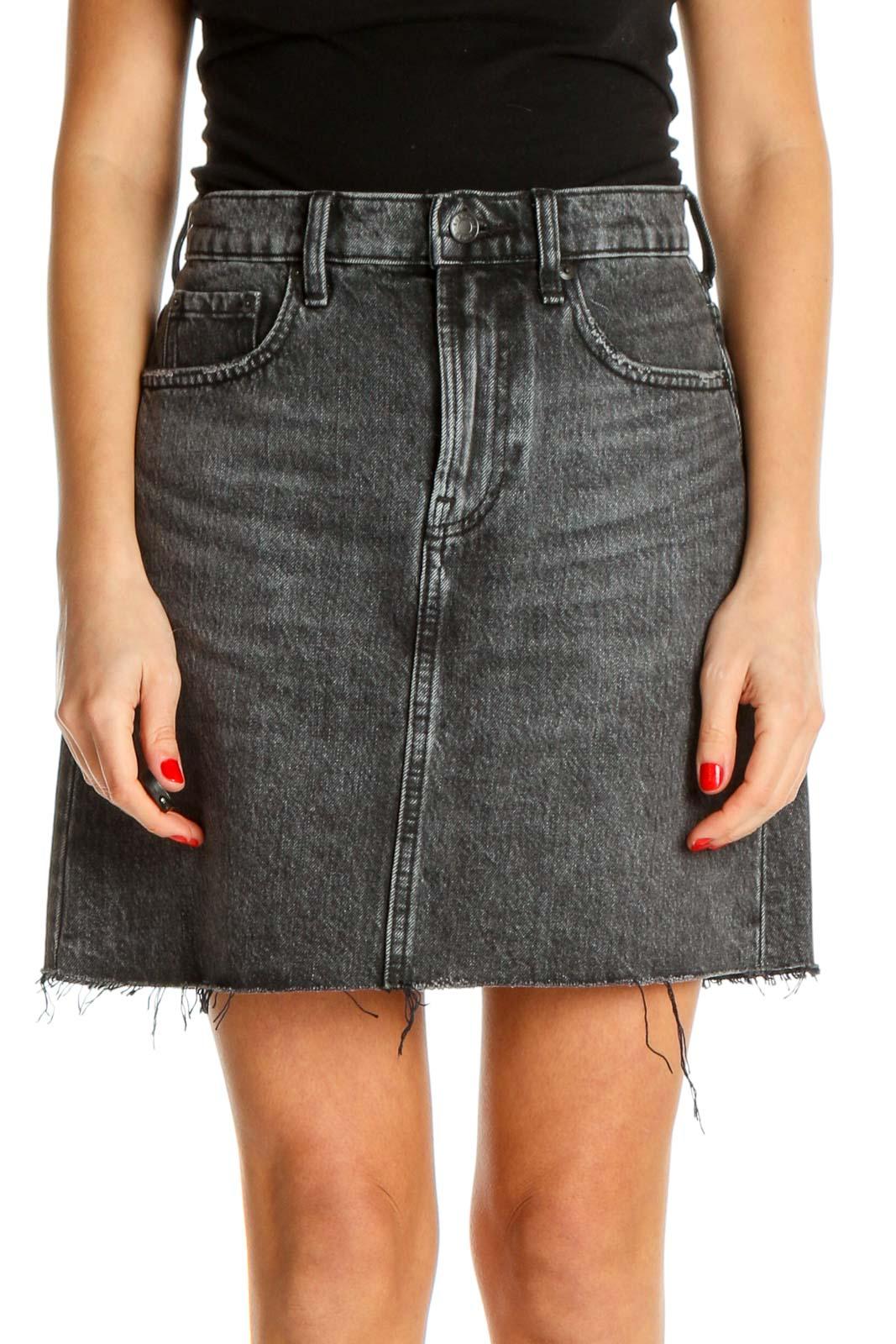 Black Textured Punk A-Line Skirt Front