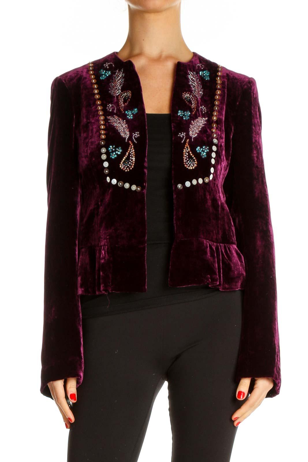 Purple Embellished Blazer Front