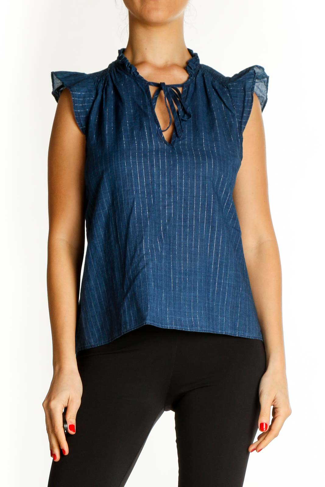 Blue Textured Casual Blouse Front