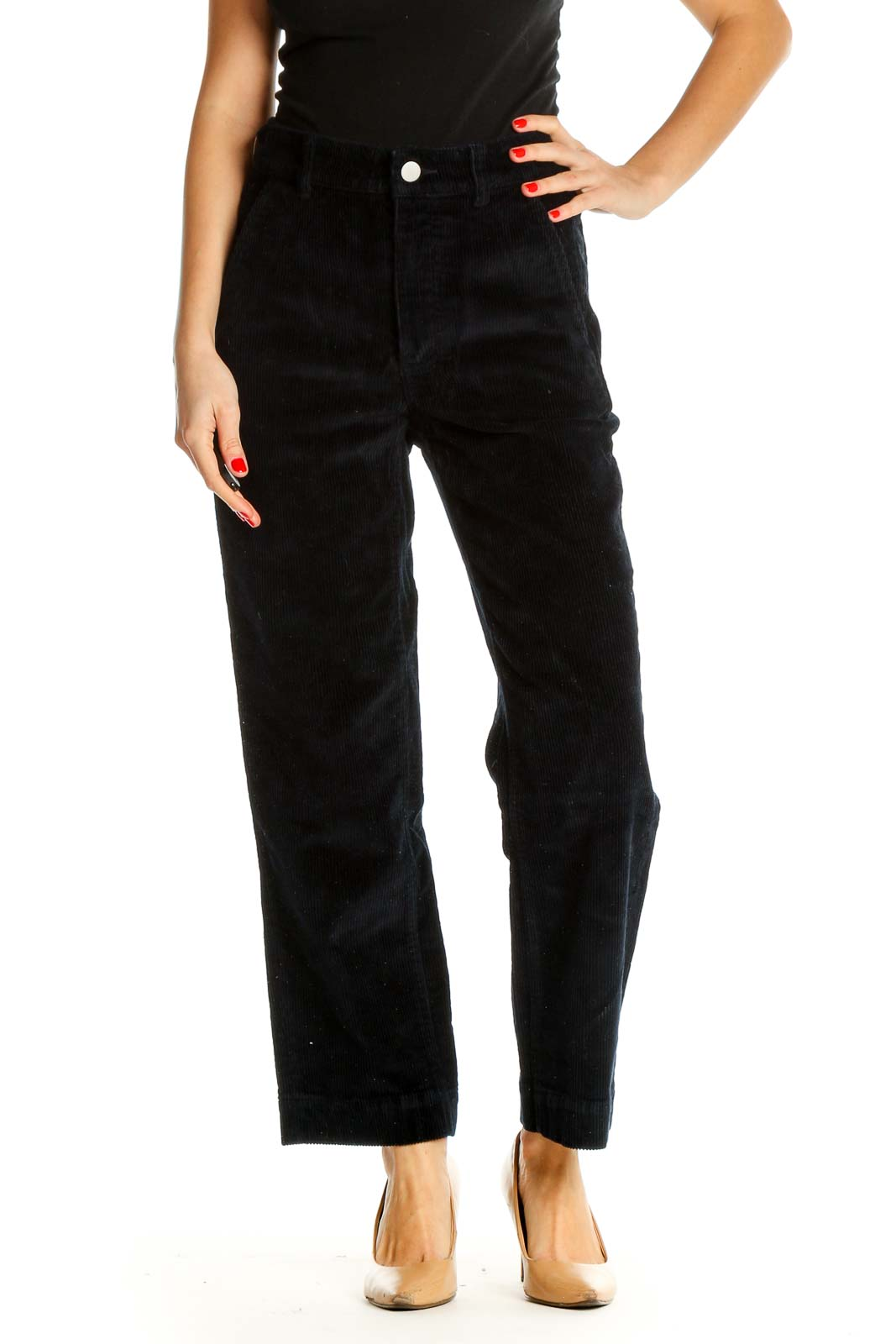 Black Textured All Day Wear Trousers Front