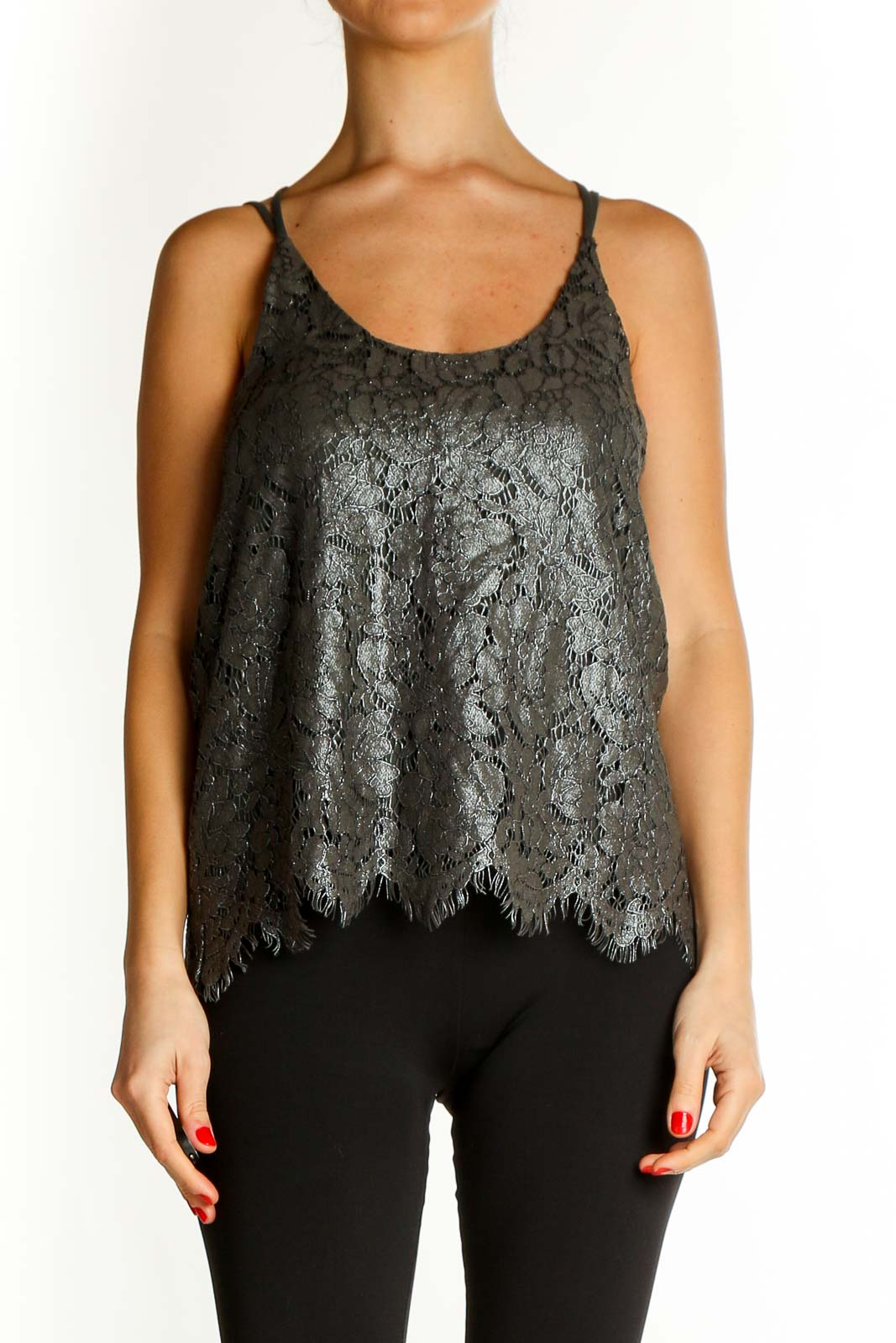 Gray Textured Chic Top Front