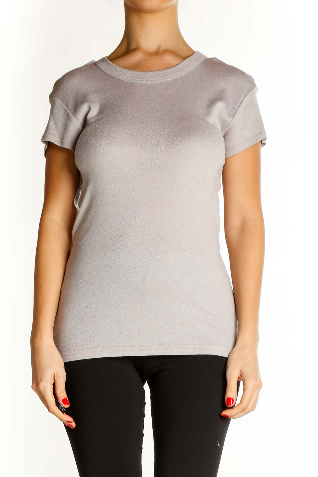 Beige Solid Casual T-Shirt Front