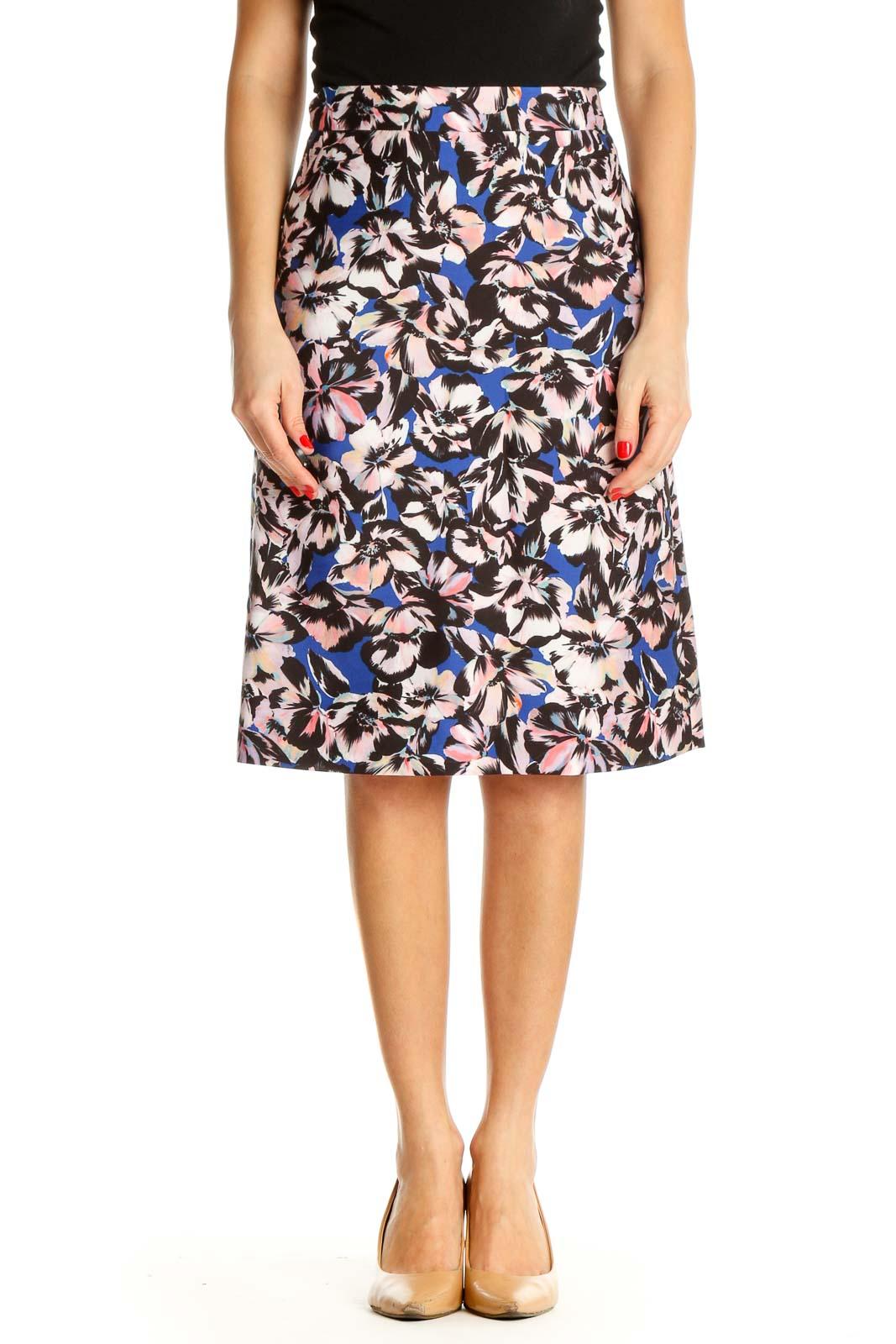Brown Floral Print Brunch A-Line Skirt Front
