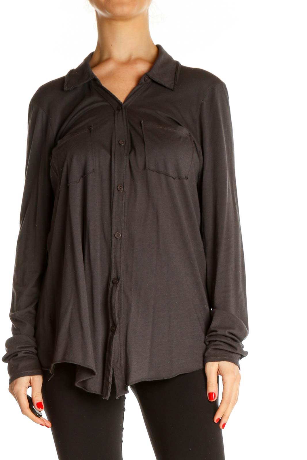Gray Solid Formal Shirt Front