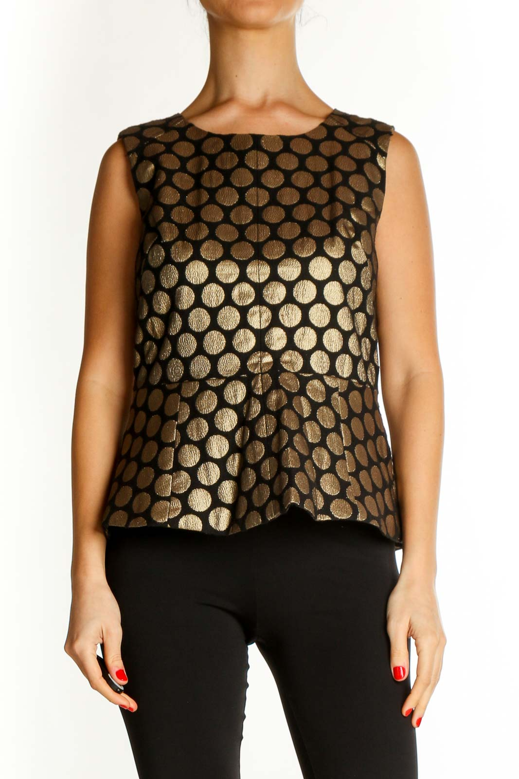 Brown Polka Dot Casual Blouse Front