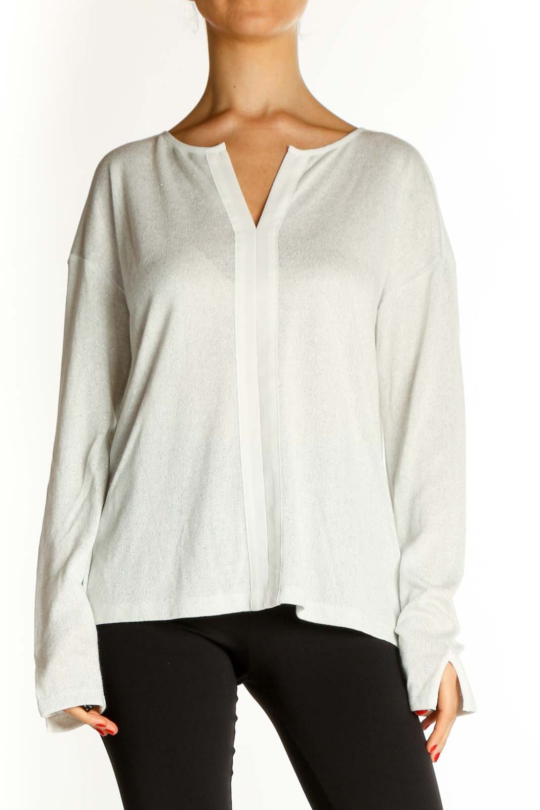 White Textured Brunch Blouse Front
