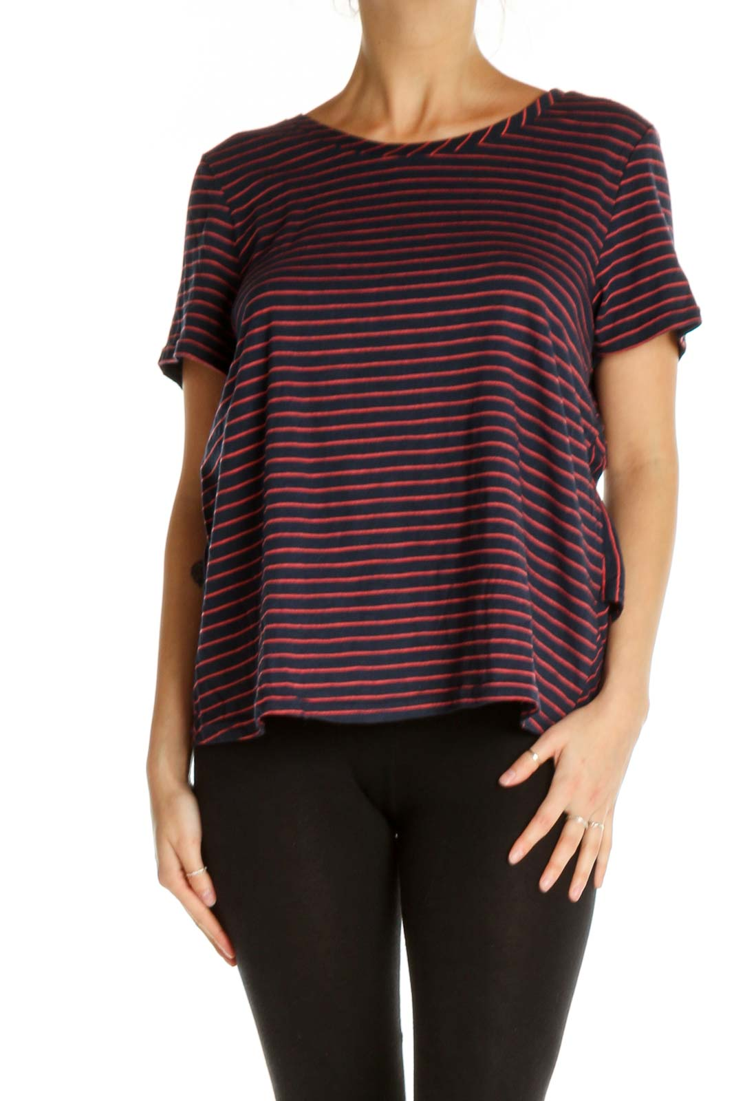 Red Striped All Day Wear T-Shirt Front