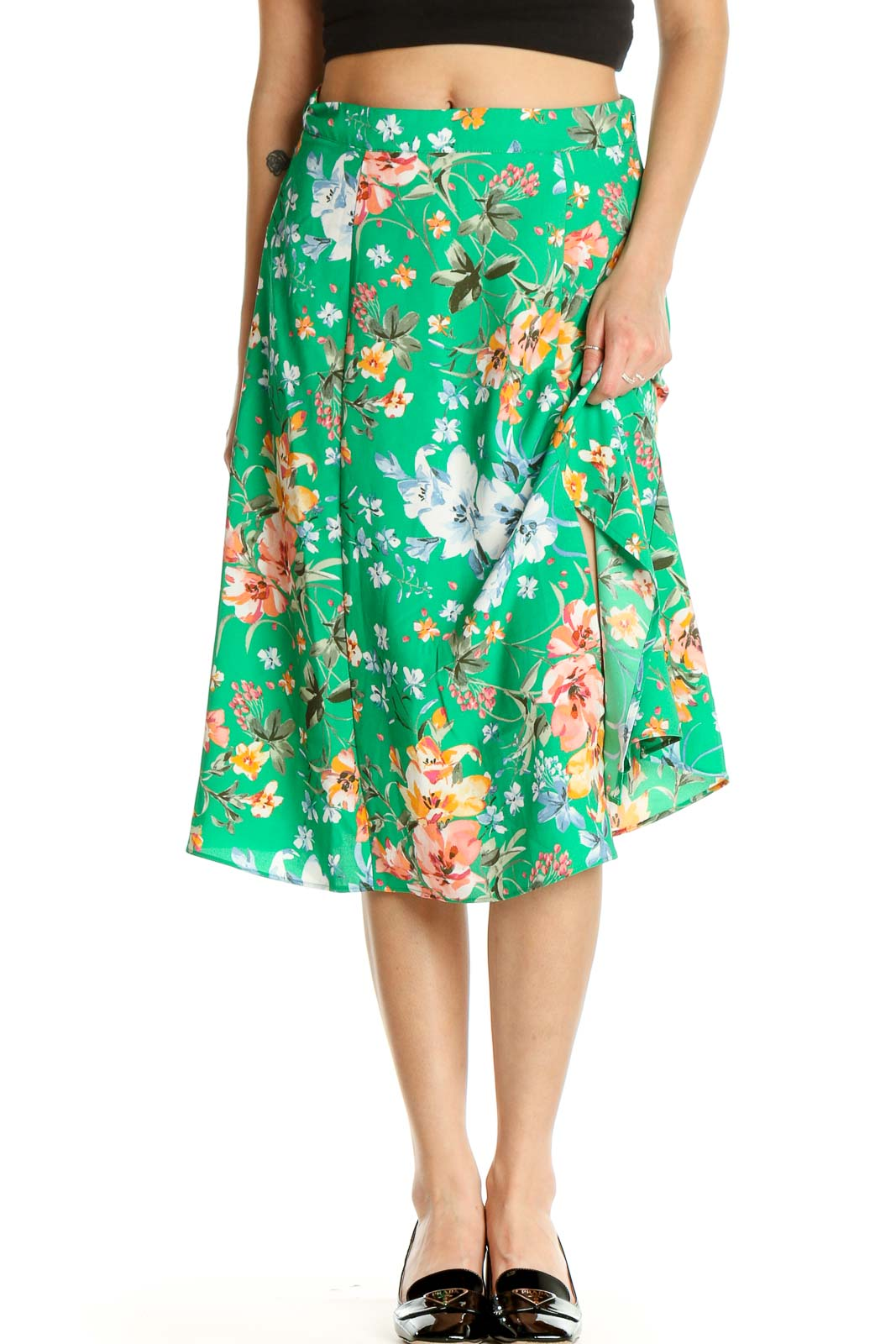 Green Floral Print Holiday Flared Skirt Front
