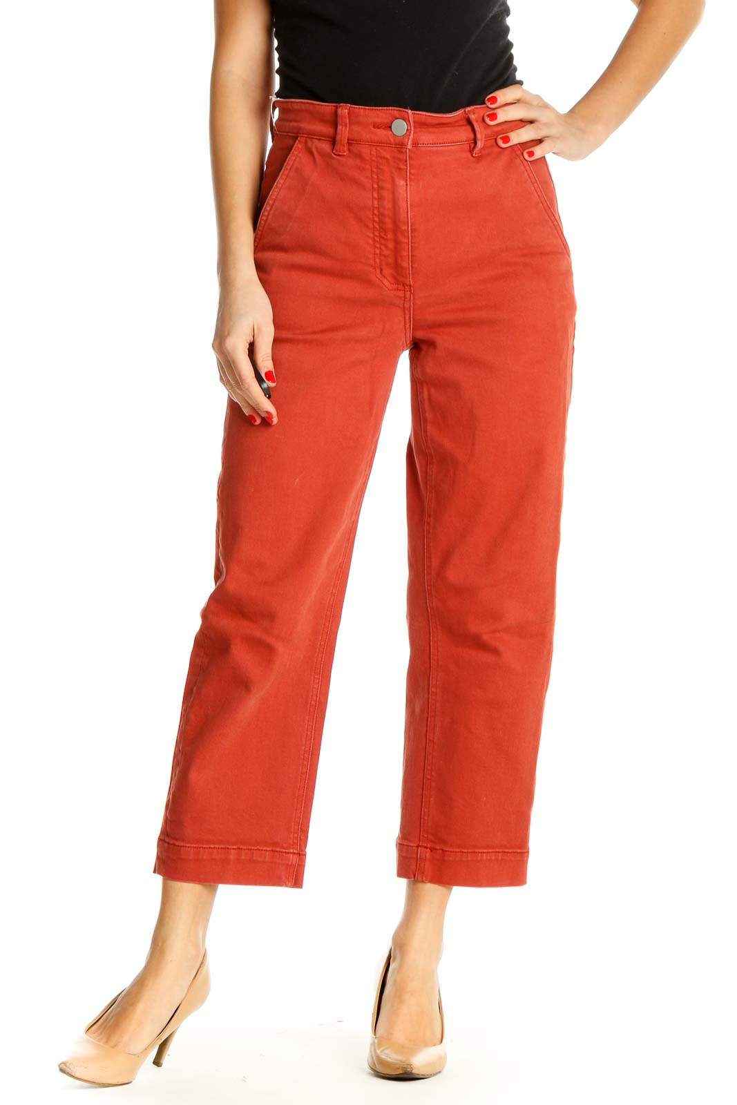 Red Solid Casual Trousers Front