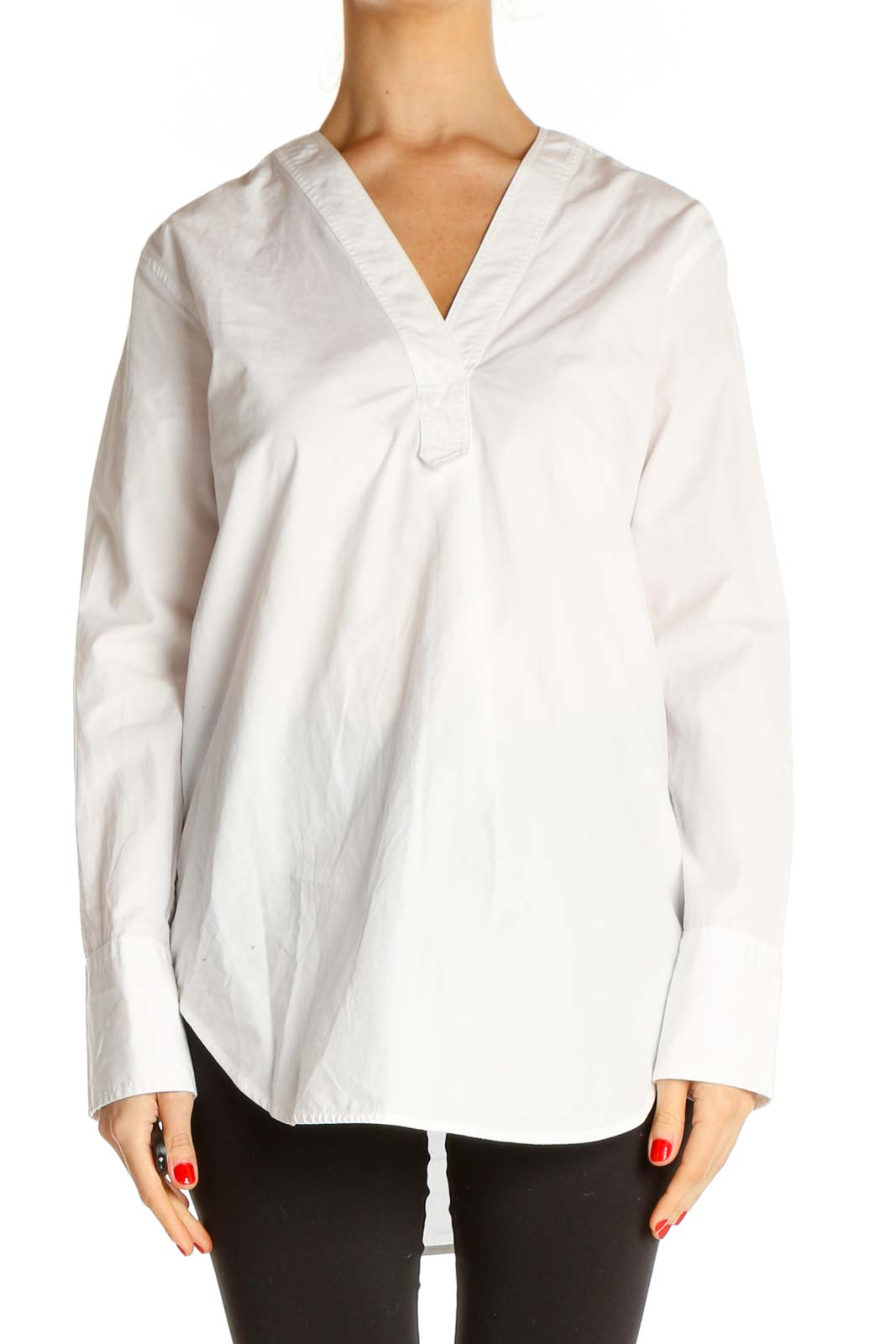 White Solid Work Blouse Front
