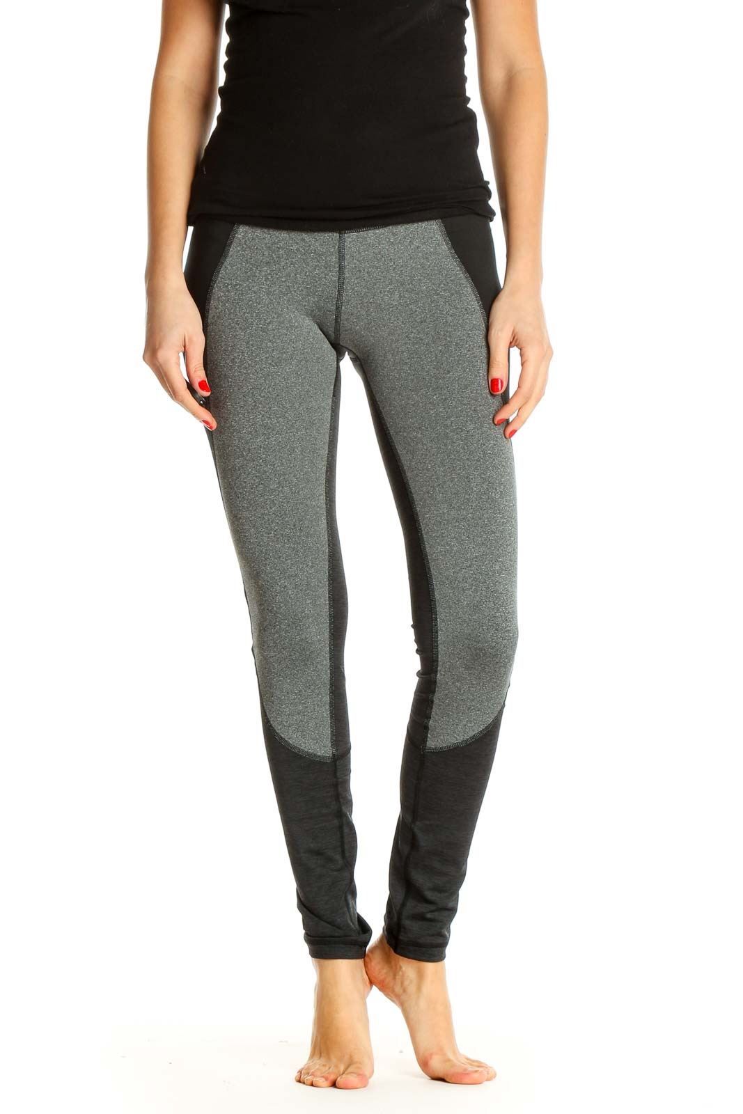 Gray Textured Activewear Leggings Front