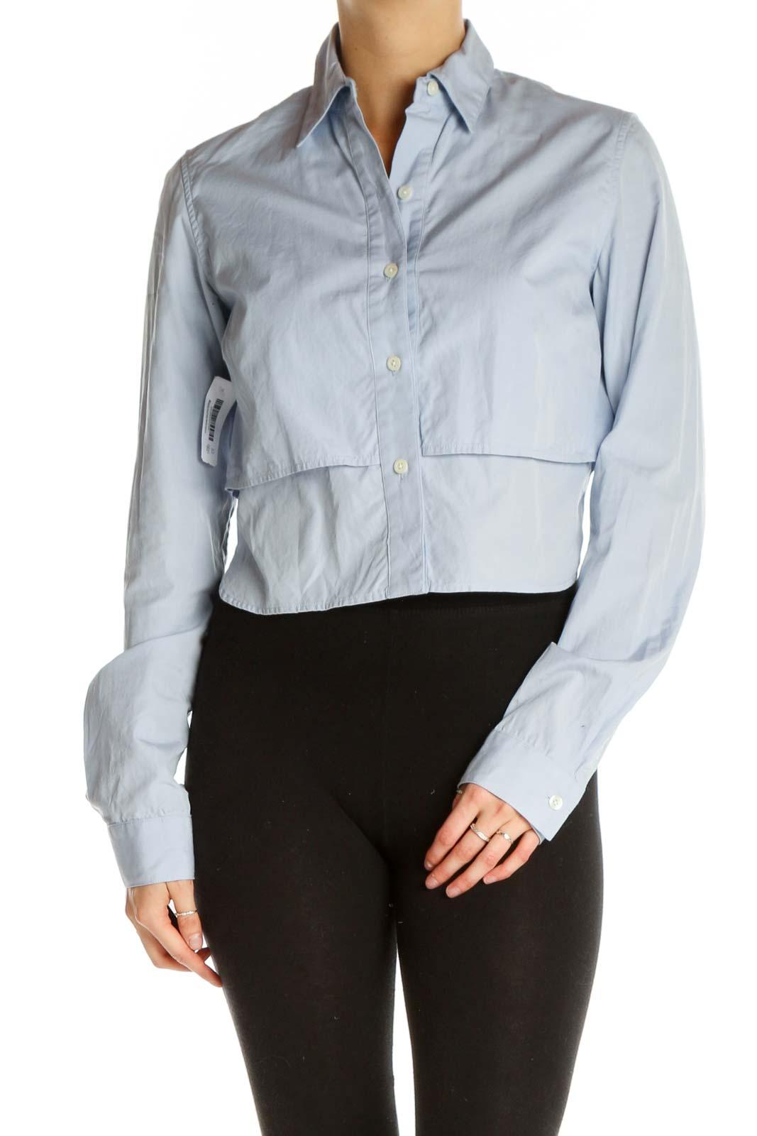 Blue Solid Formal Shirt Front