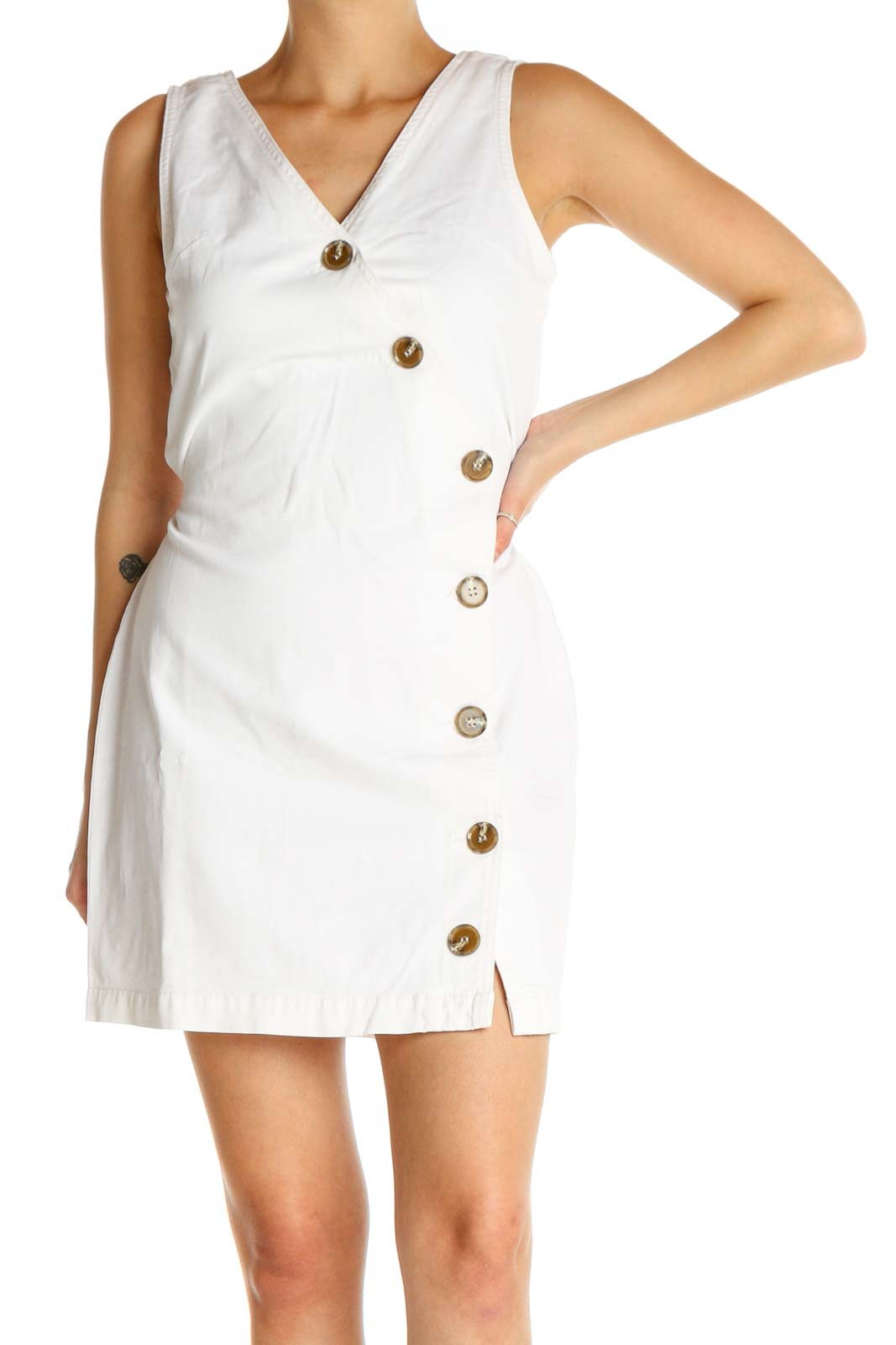 White Solid Classic Sheath Dress Front