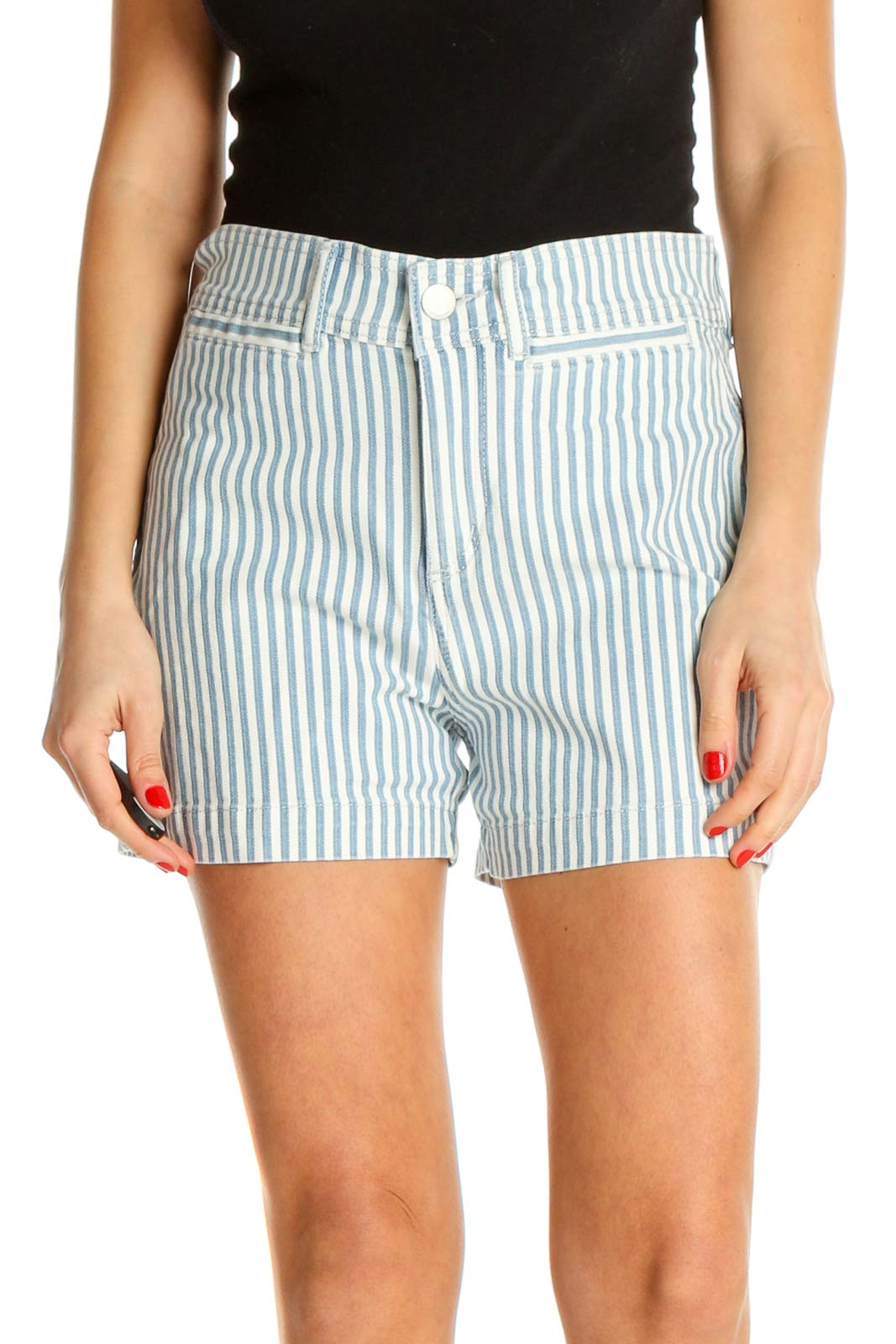 Blue Striped All Day Wear Shorts Front