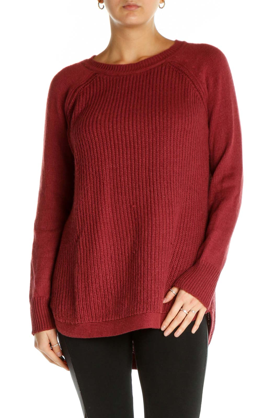 Red Textured All Day Wear Sweater Front