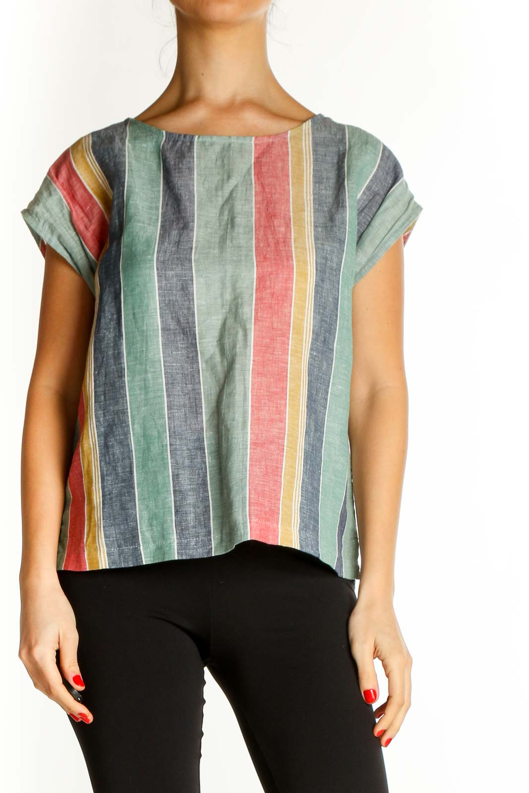 Pink Striped All Day Wear Blouse Front