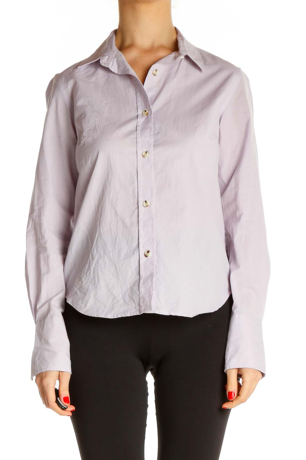 Purple Solid Formal Shirt Front