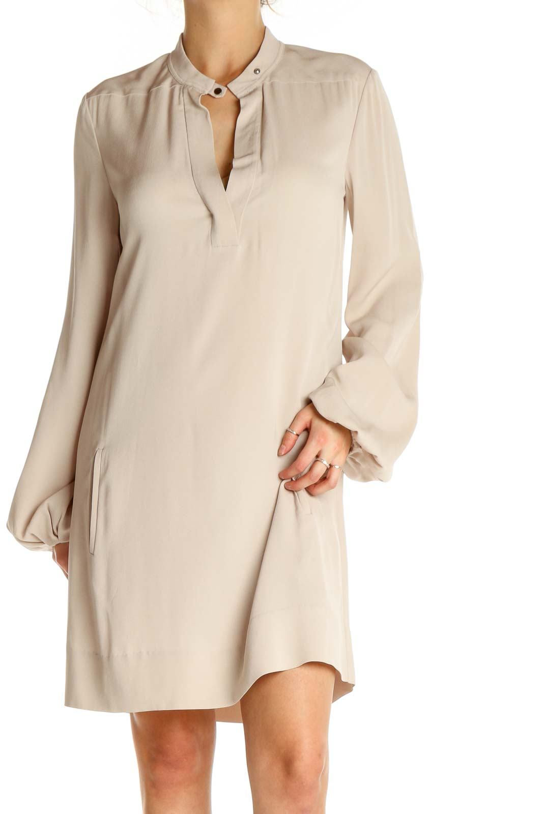 Beige Solid Day Sheath Dress Front