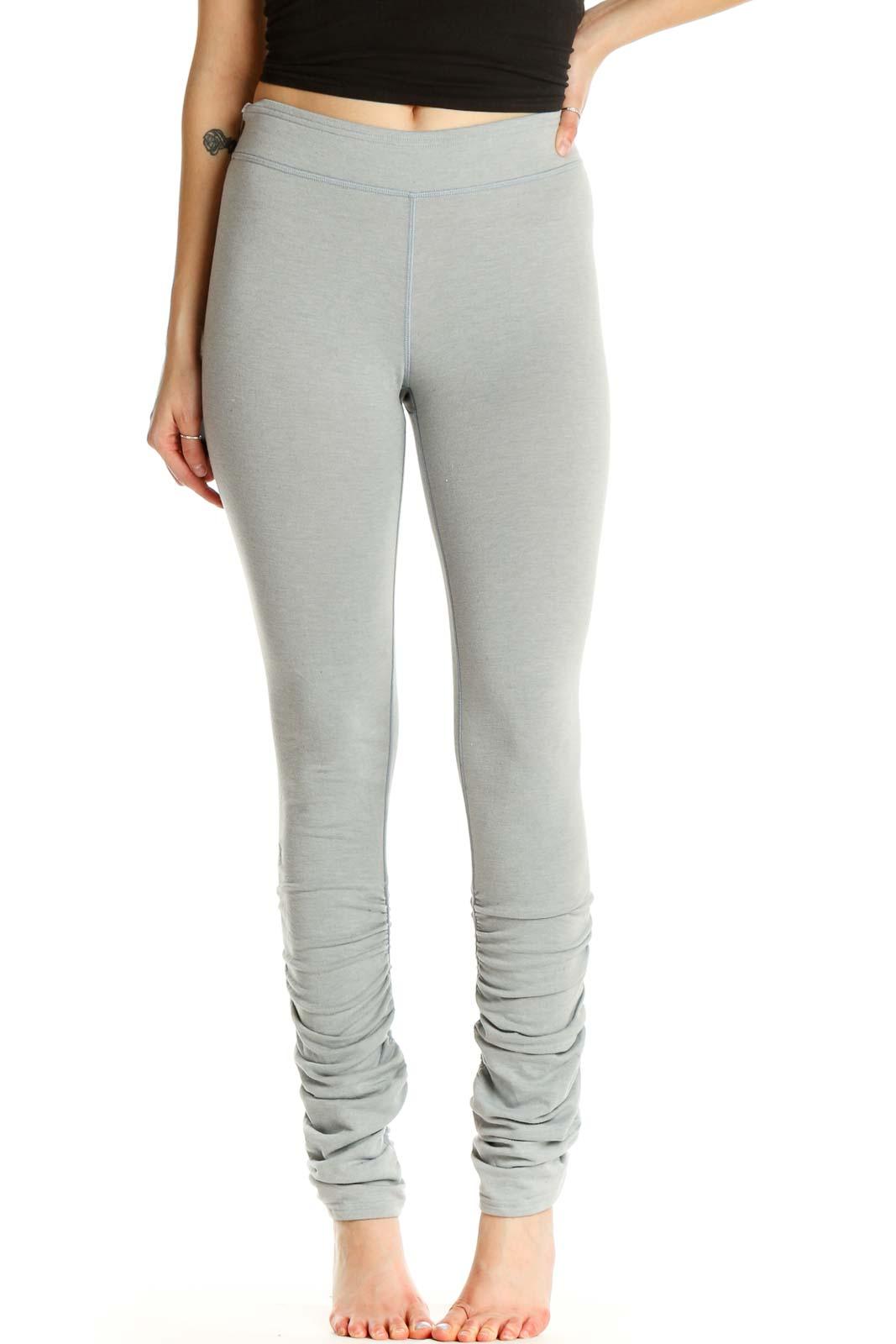 Beige Textured Activewear Leggings Front