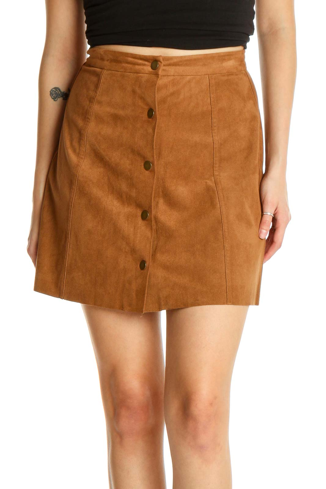 Brown Solid Chic A-Line Skirt Front
