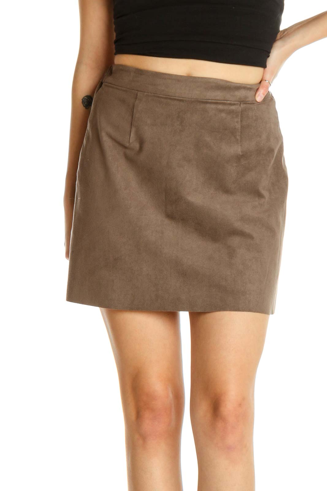 Brown Classic Straight Skirt Front