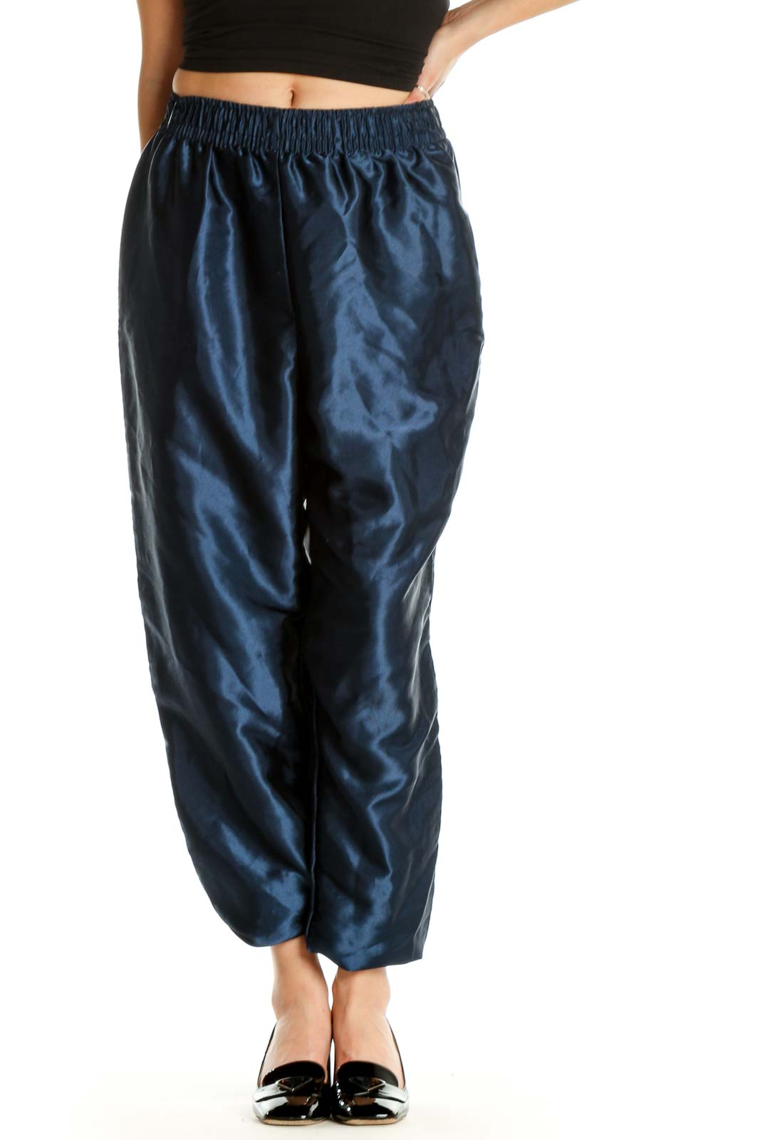 Blue Textured All Day Wear Trousers Front