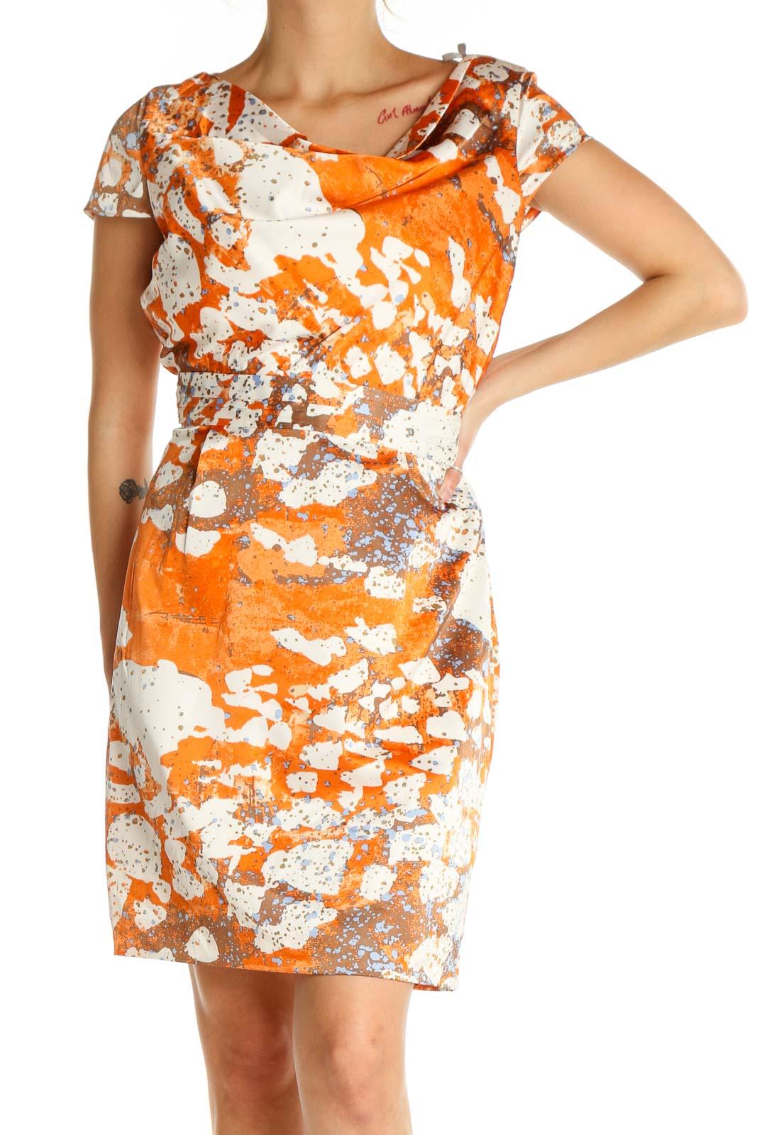 Orange Retro Sheath Dress Front