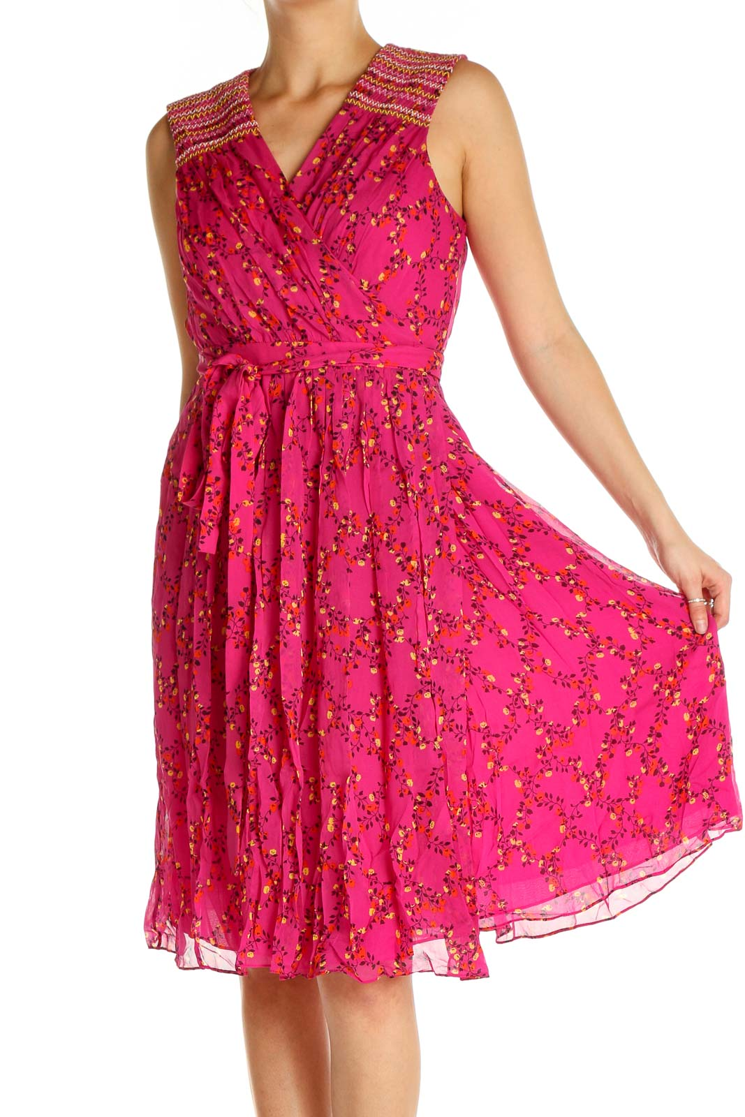 Pink Polka Dot Day Fit & Flare Dress Front