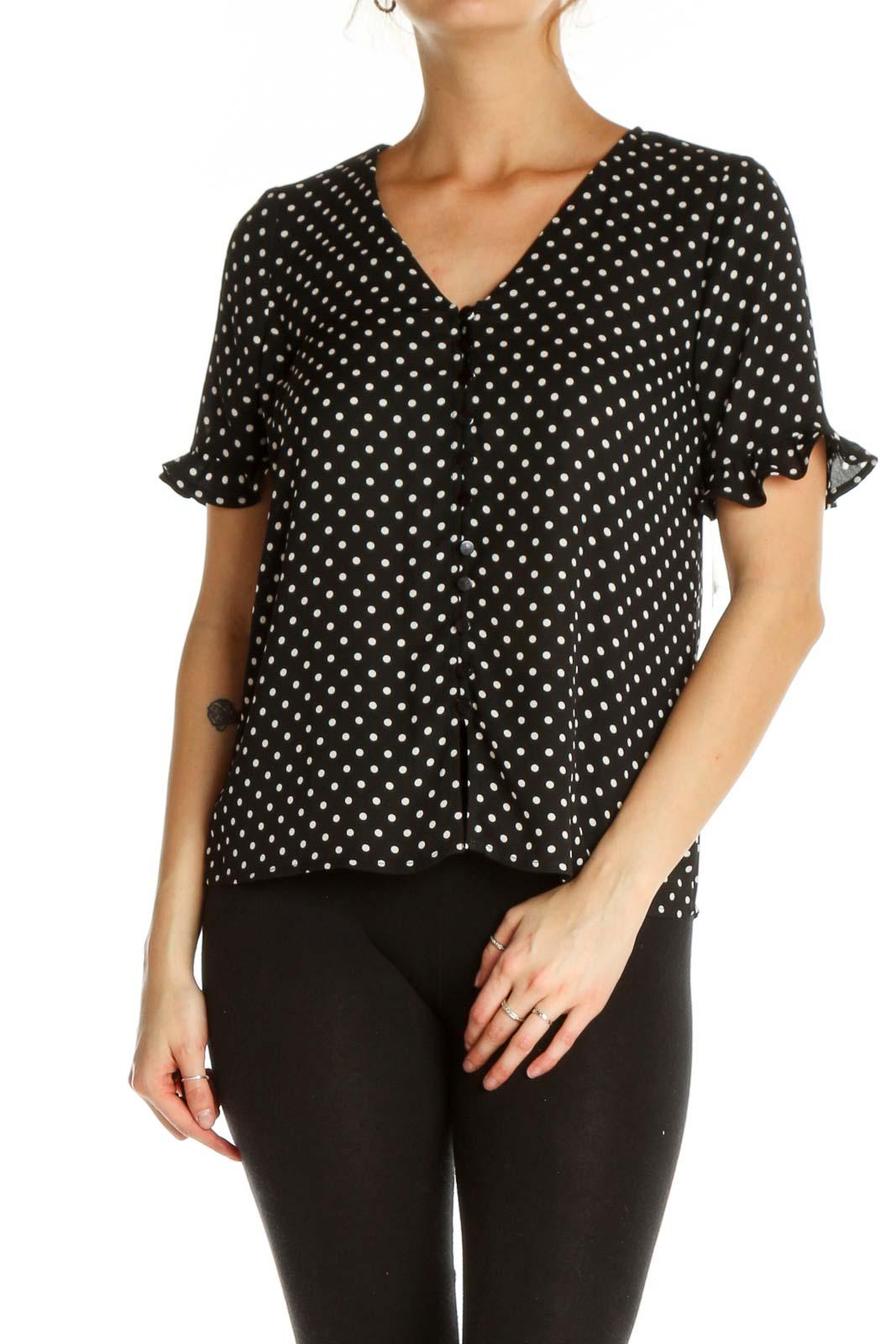 Black Polka Dot All Day Wear T-Shirt Front