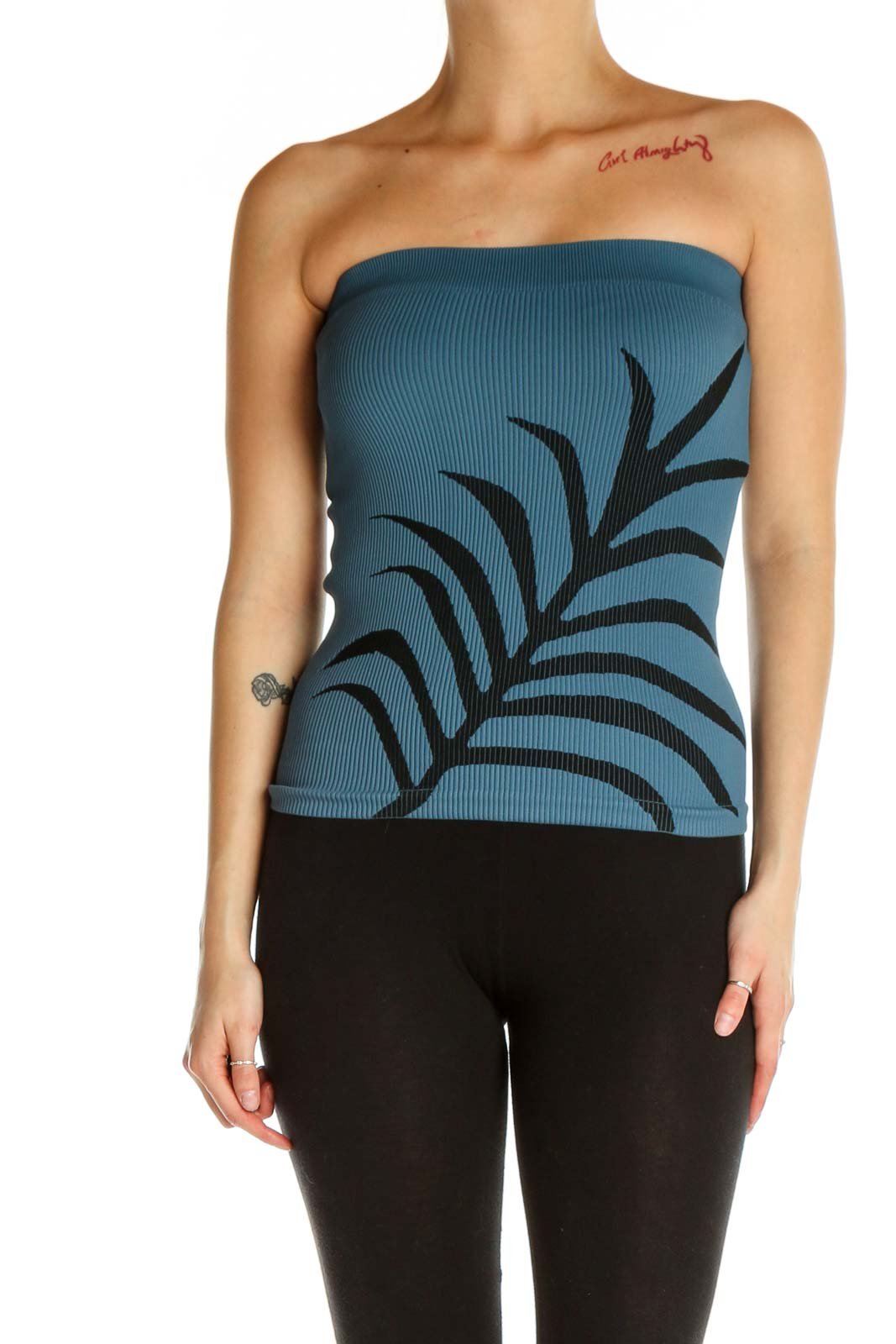 Blue Tropical Print Chic Top Front