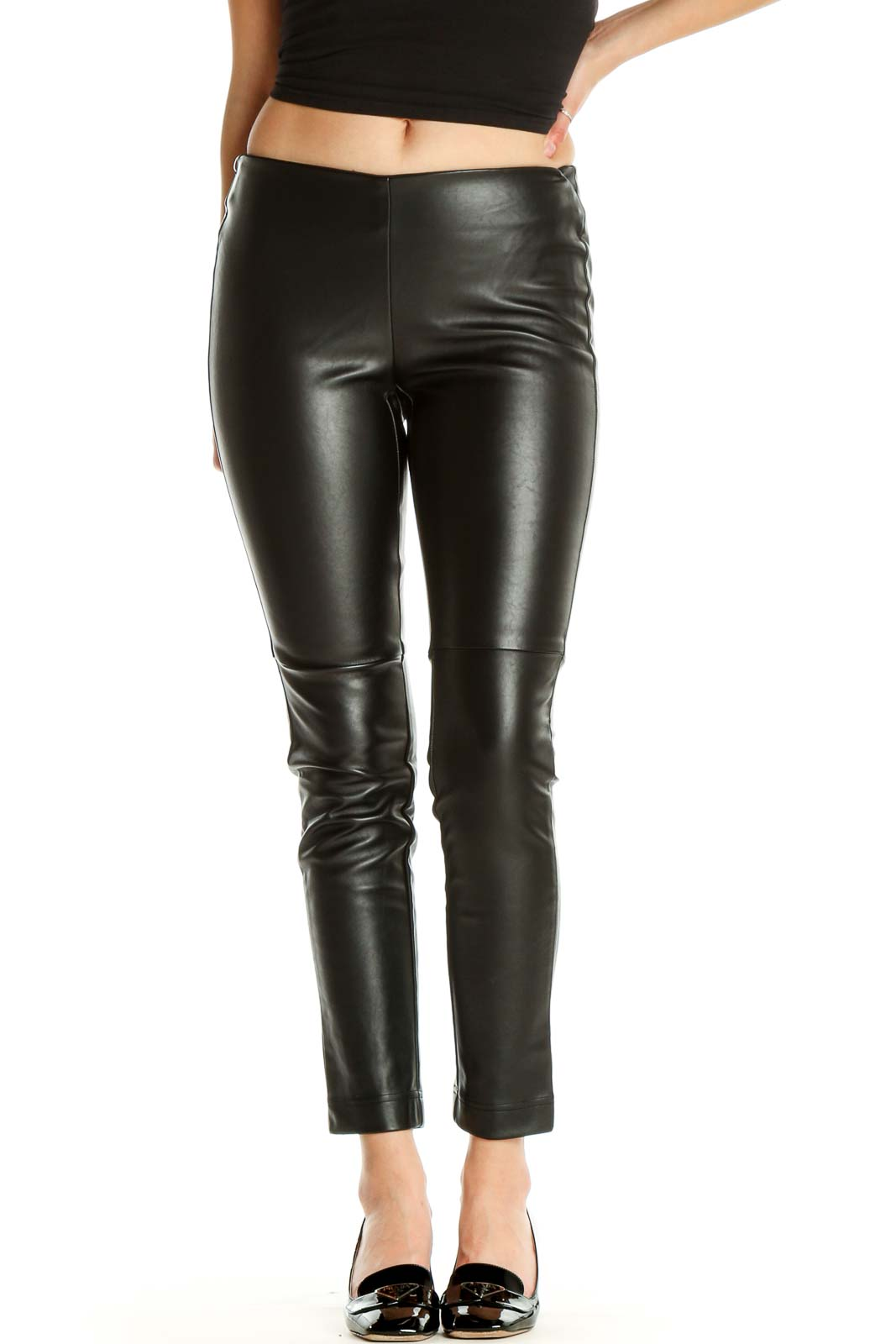 Black Textured All Day Wear Leggings Front
