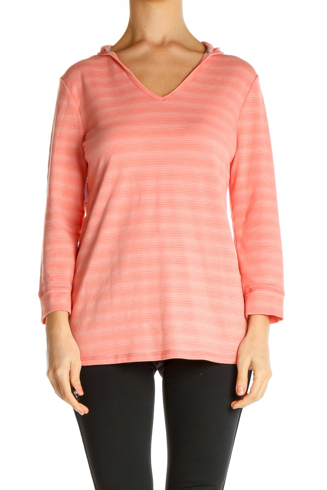 Pink Striped All Day Wear T-Shirt Front