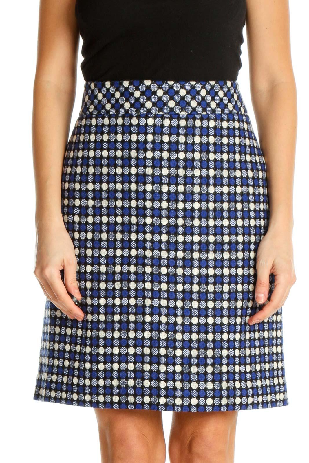 Blue Printed Brunch A-Line Skirt Front
