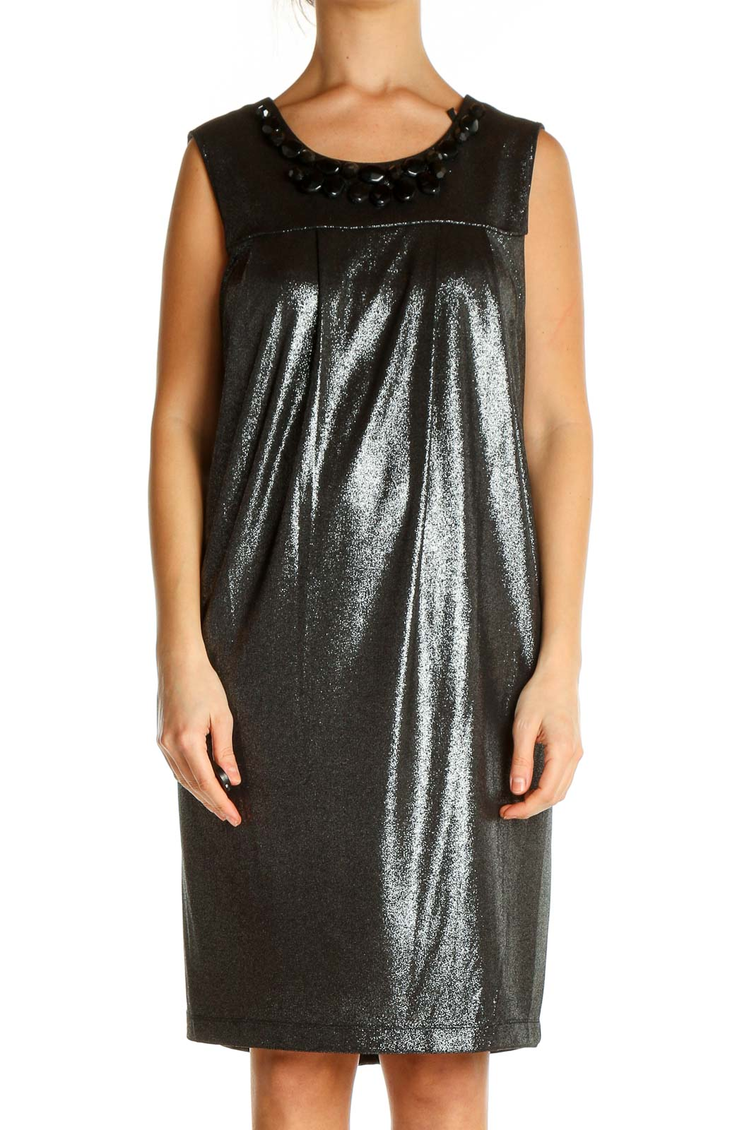 Green Solid Cocktail Shift Dress Front