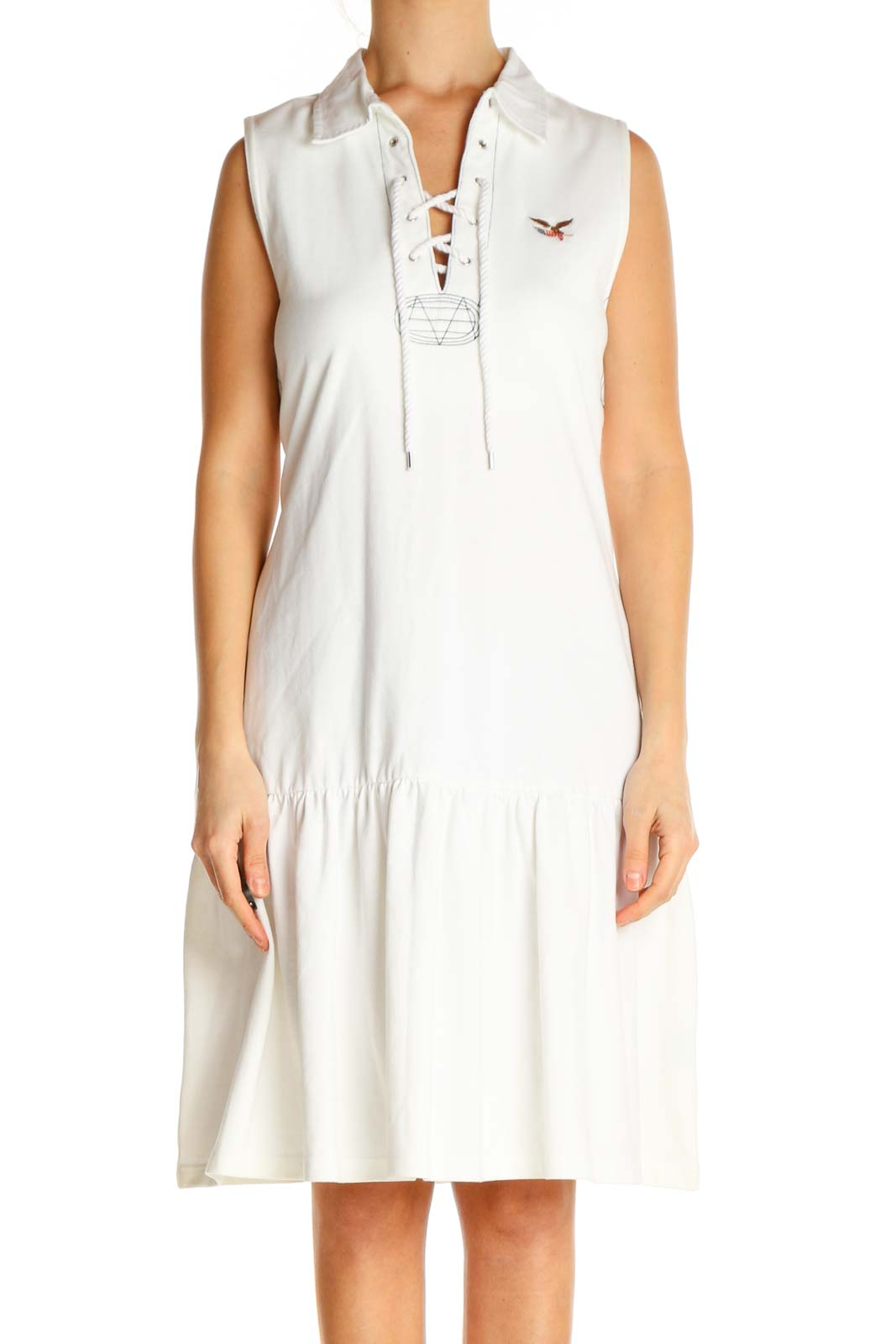 White Solid Fit & Flare Dress Front