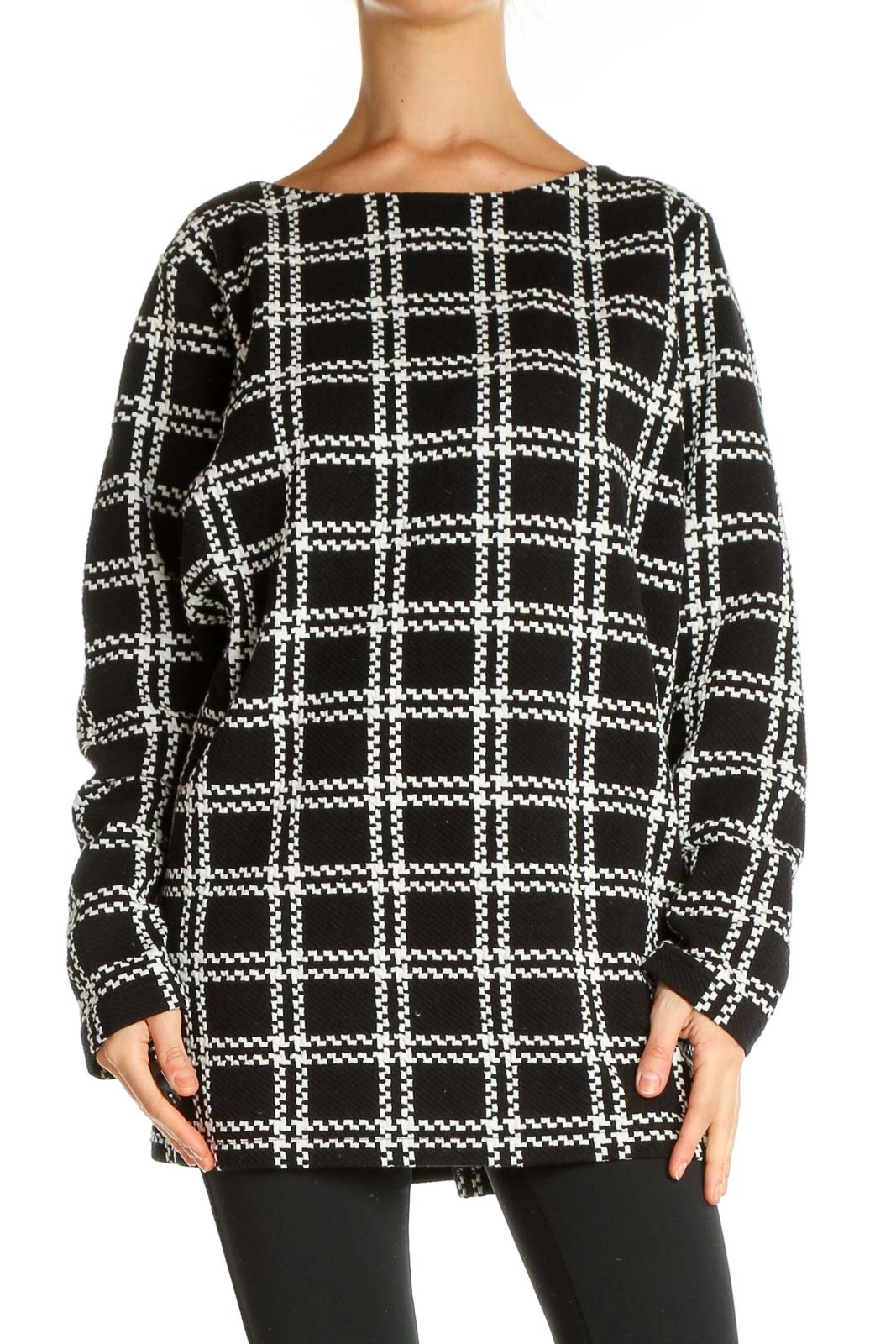 Black Checkered All Day Wear Blouse Front