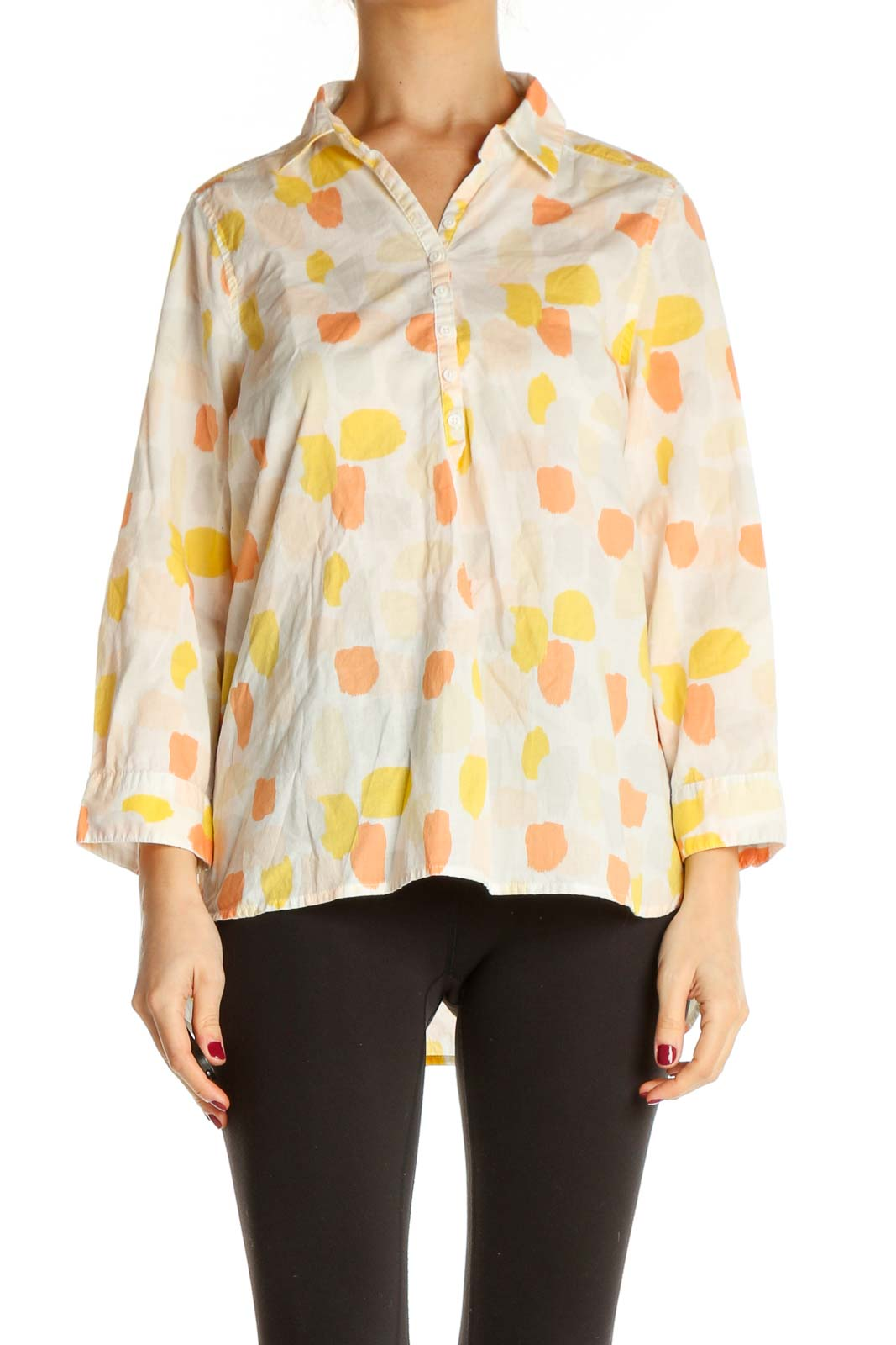 Beige Object Print All Day Wear Shirt Front