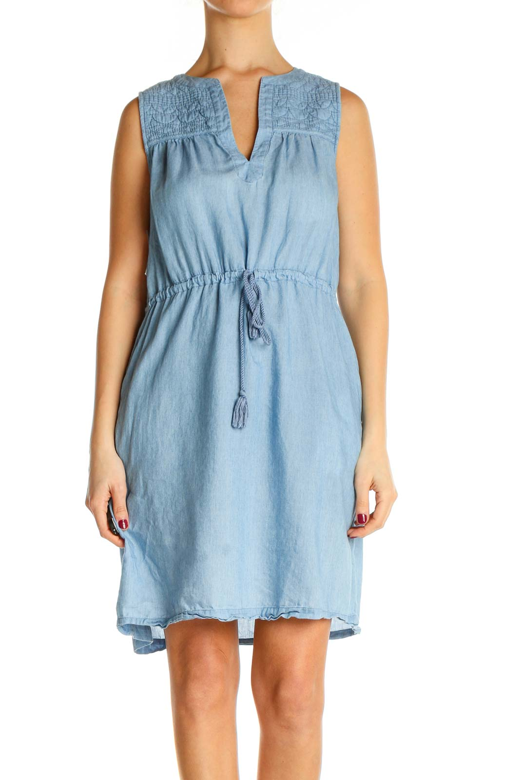 Gray Solid Holiday Fit & Flare Dress Front