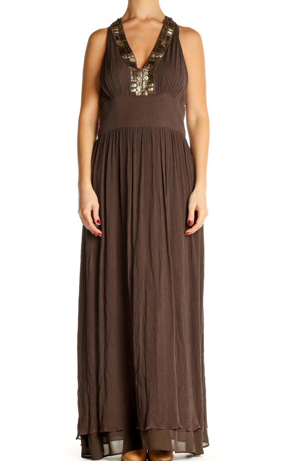 Brown Solid Holiday Fit & Flare Dress Front